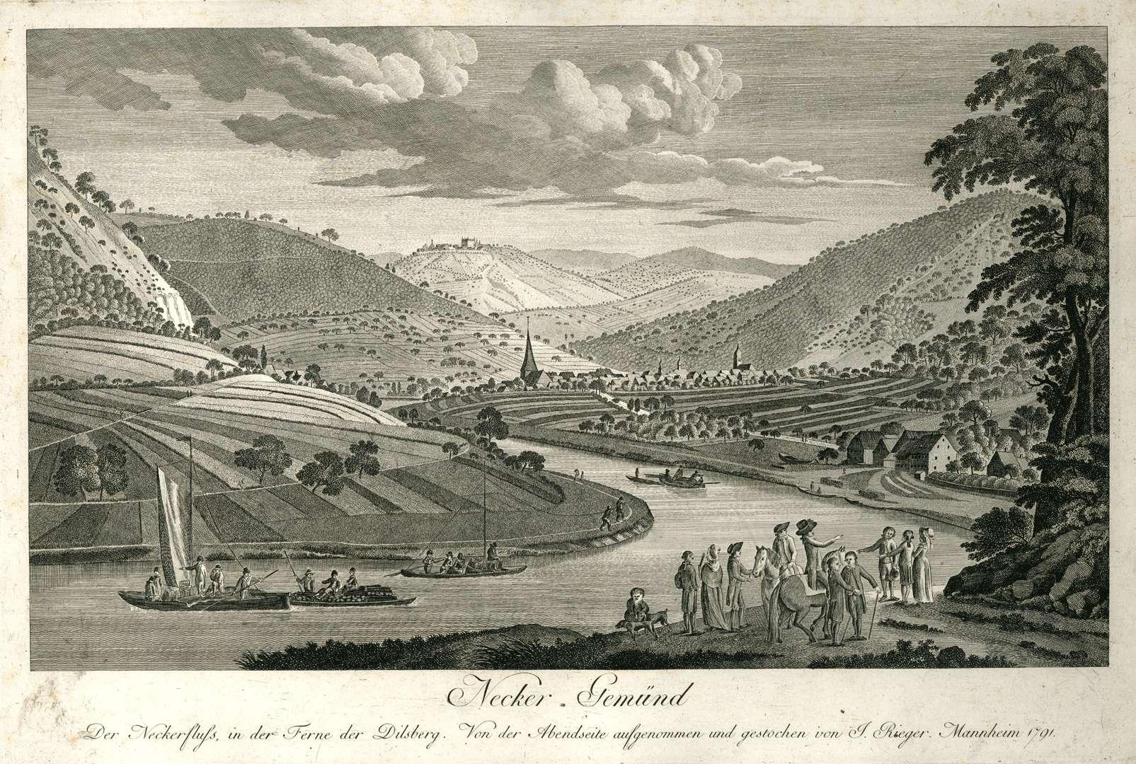 Neckar=Gemünd Der Neckerfluß, in der Ferne der Dilsberg, von der Abendseite aufgenommen, Bild 1