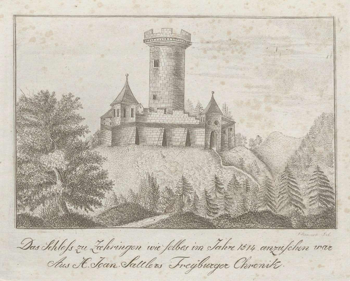 Das Schloss zu Zaehringen wie selbes im Jahres 1514 anzusehen war. Aus H. Joan. Sattlers Freyburger Chronik, Bild 1