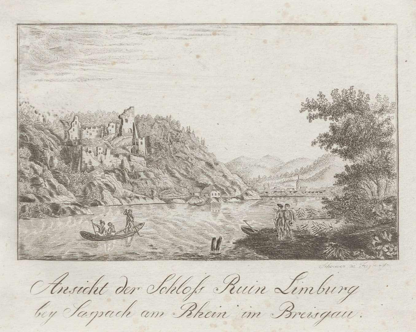 Ansicht der Schloss Ruin Limburg bey Saspach am Rhein im Breisgau, Bild 1