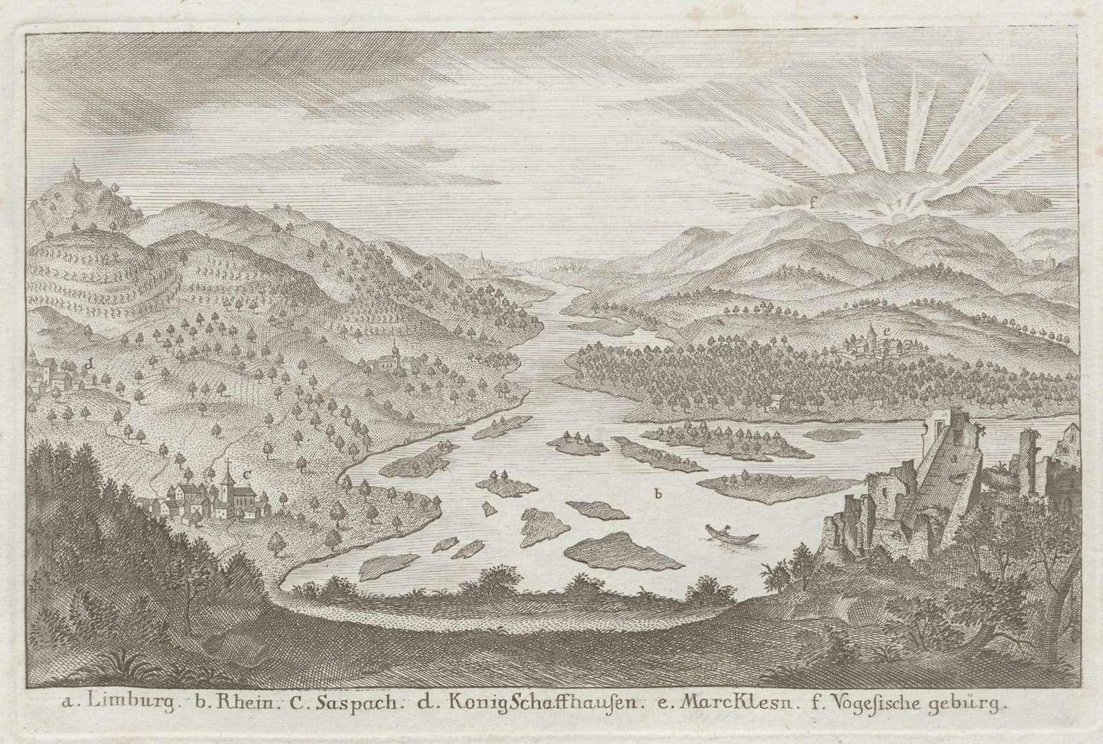 [Sicht auf den mäandrierenden Rhein in der Gegend des Kaiserstuhls], Bild 1