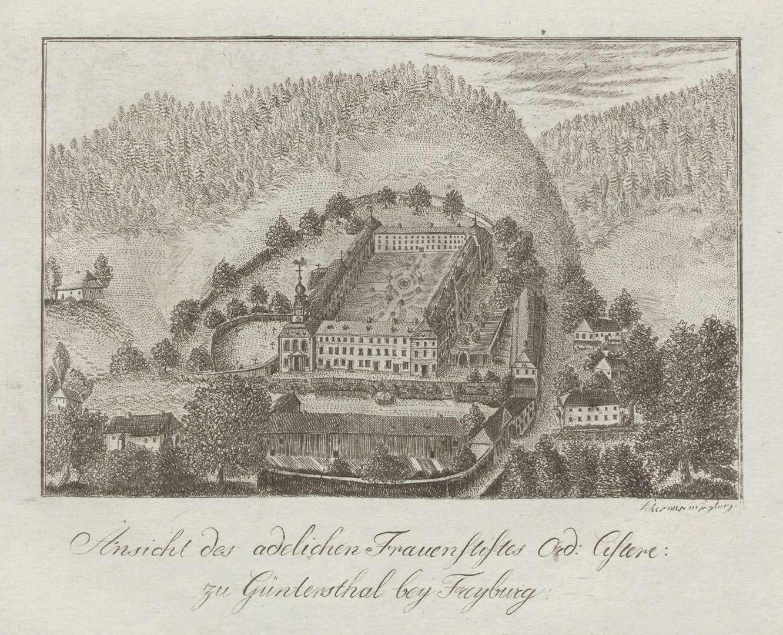 Ansicht des adelichen Frauenstiftes Ord[inis] Cisterc[iensis] zu Güntersthal bey Freyburg, Bild 1