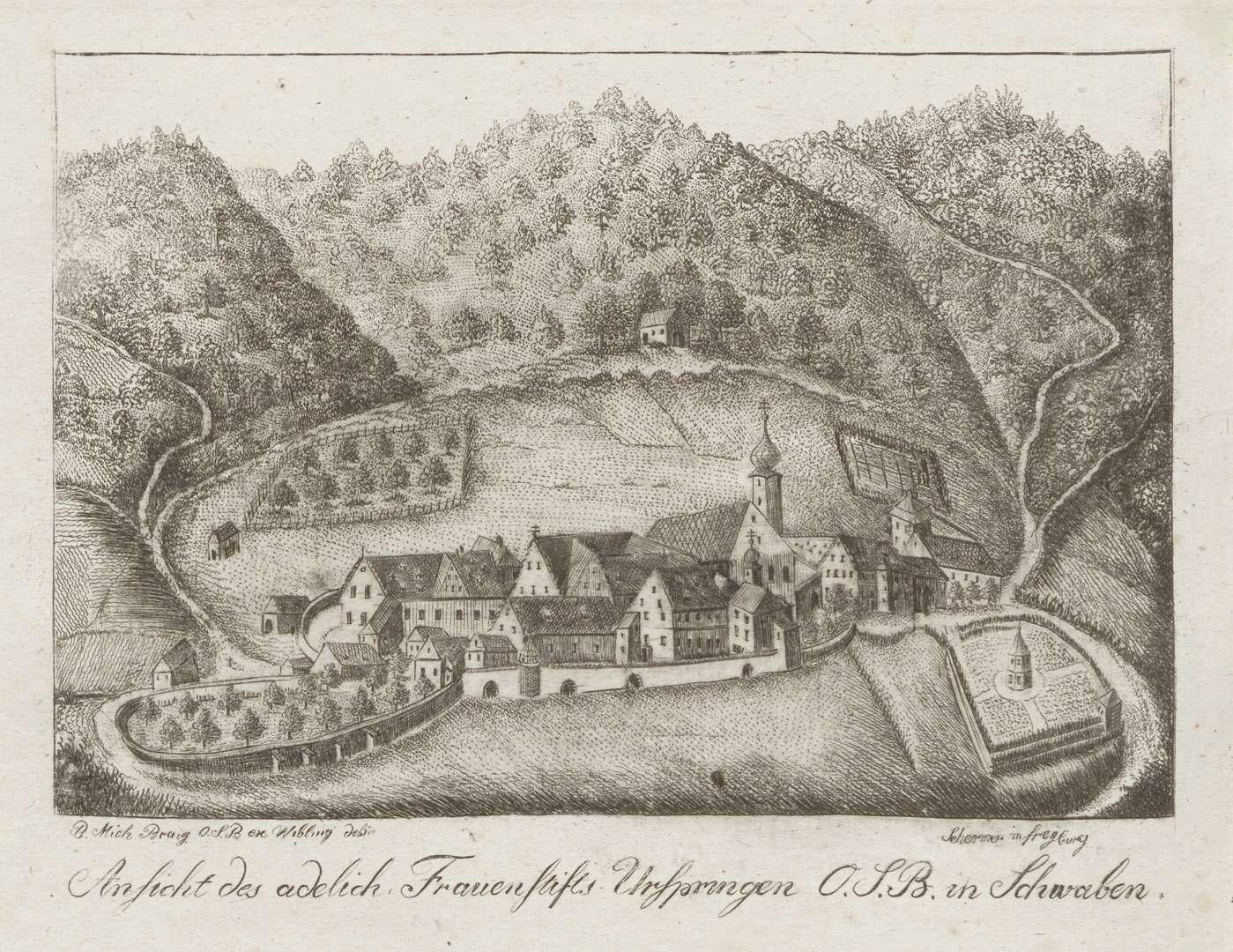Ansicht des adelich[en] Frauenstifts Urspringen O.S.B. in Schwaben, Bild 1