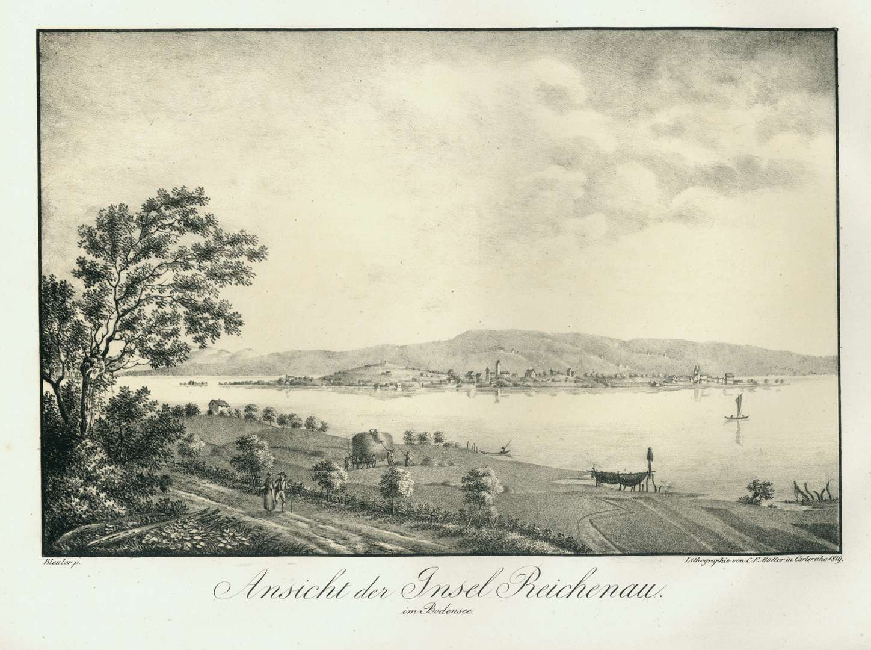 Ansicht der Insel Reichenau im Bodensee, Bild 1