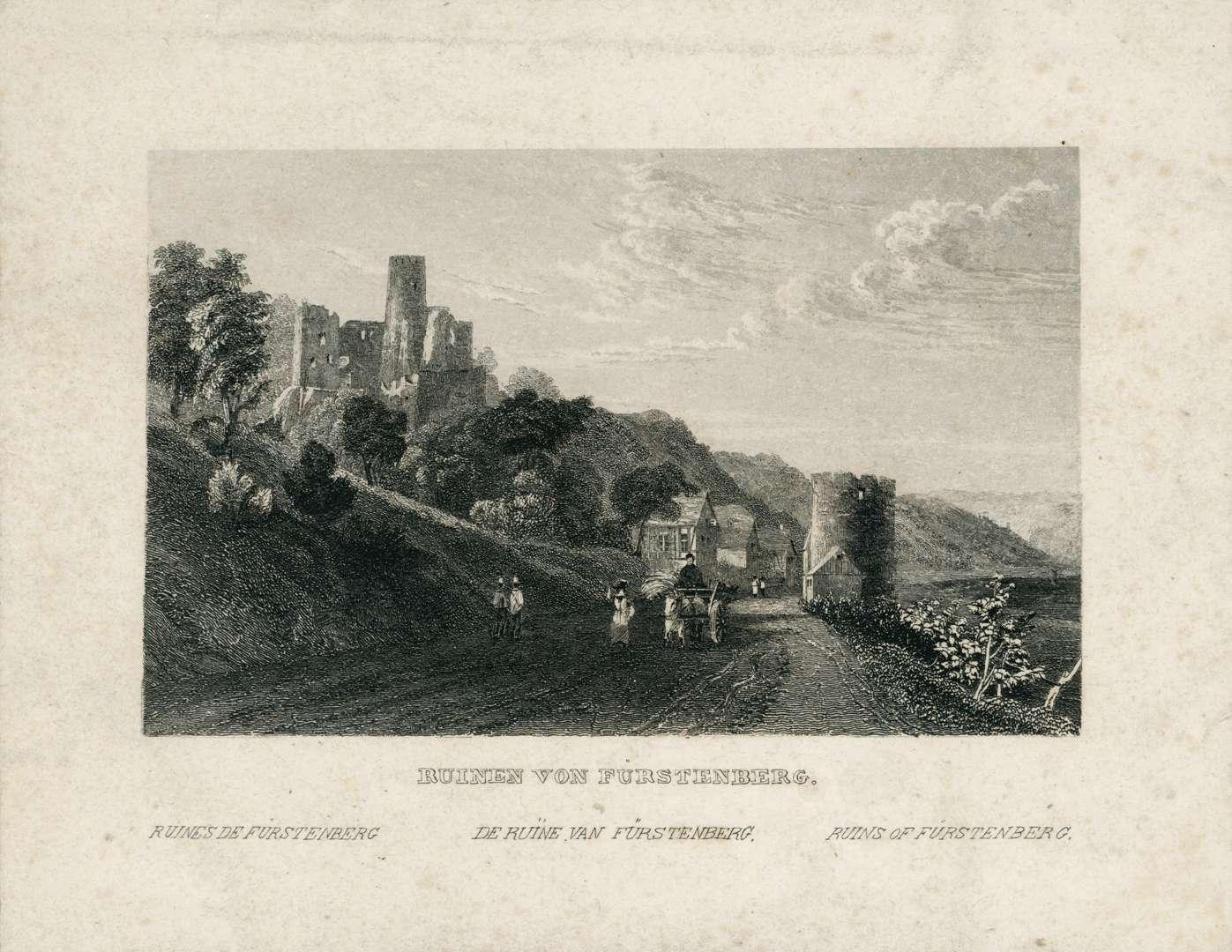Ruinen von Fürstenberg. Ruines de Furstenberg. De Ruine van Fürstenberg. Ruins of Fürstenberg, Bild 1