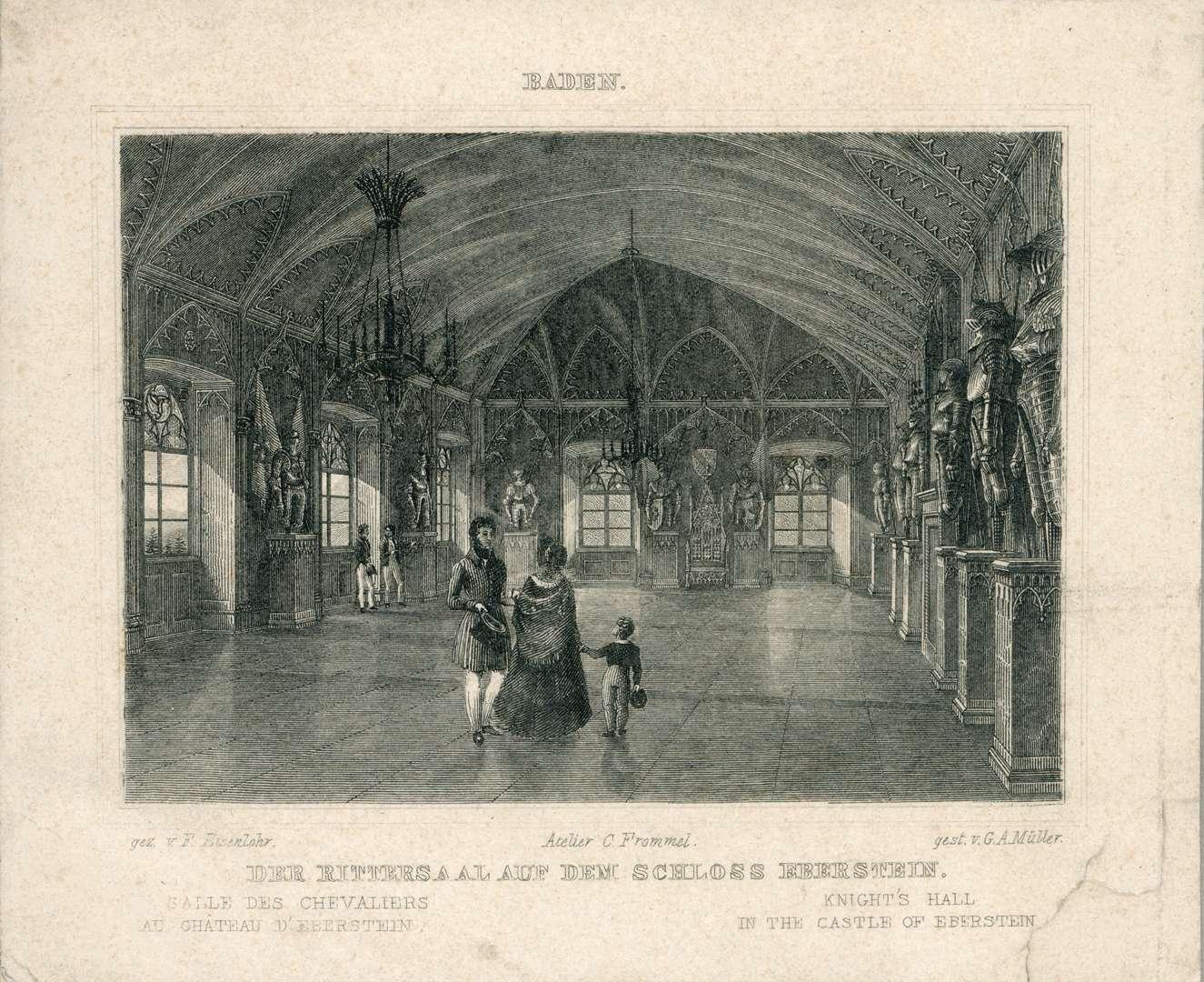 Baden. Der Rittersaal auf dem Schloß Eberstein. Salle des Chevaliers au Chateau d
