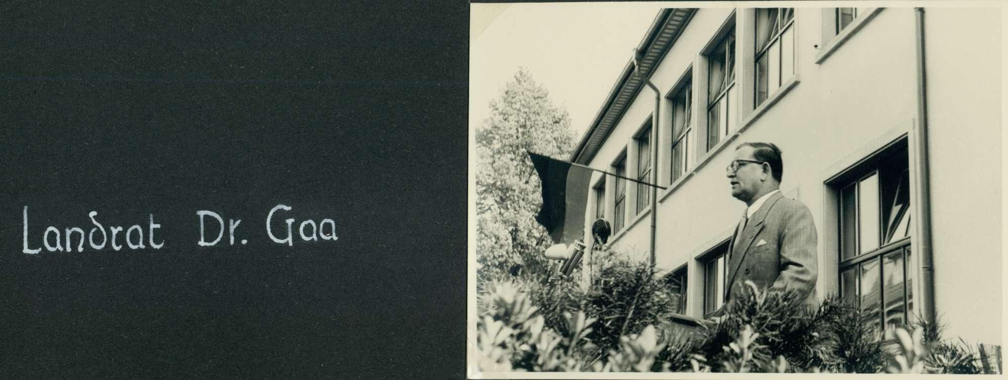 [Schulhausneubau in Brühl: Ansprache von] Landrat Dr. [Valentin] Gaa, Bild 1