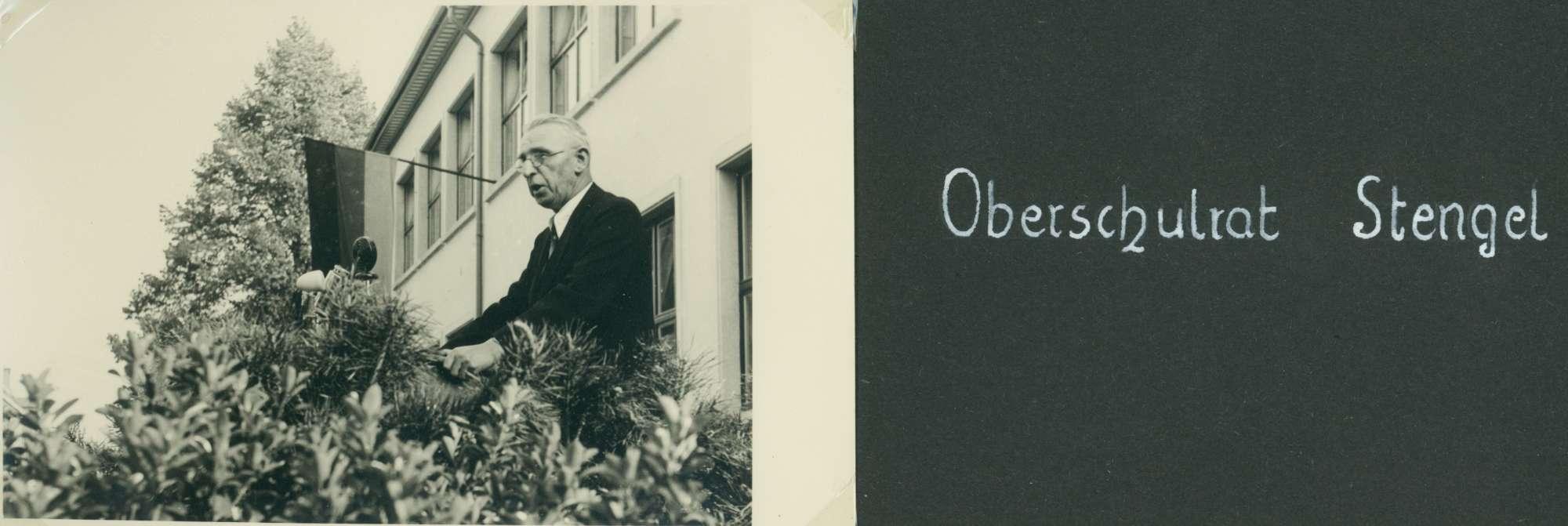 [Schulhausneubau in Brühl: Ansprache von] Oberschulrat Stengel, Bild 1