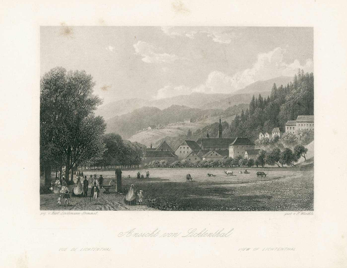 Ansicht von Lichtenthal. Vue de Lichtenthal. View of Lichtenthal, Bild 1