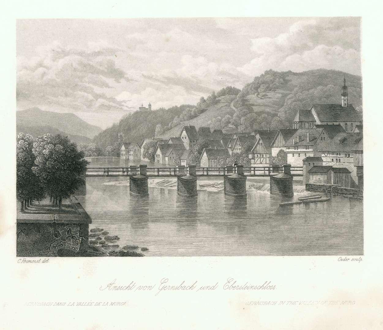 Ansicht von Gernsbach und Ebersteinschloss. Gernsbach dans la Vallée de la Murg. Gernsbach in the Valley of the Murg, Bild 1