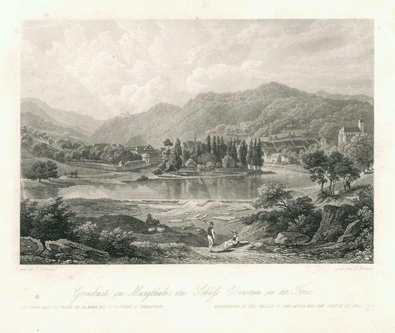 Gernsbach im Murgthale, das Schloss Eberstein in der Ferne. Gernsbach dans la Vallée de la Murg et le Chateau d