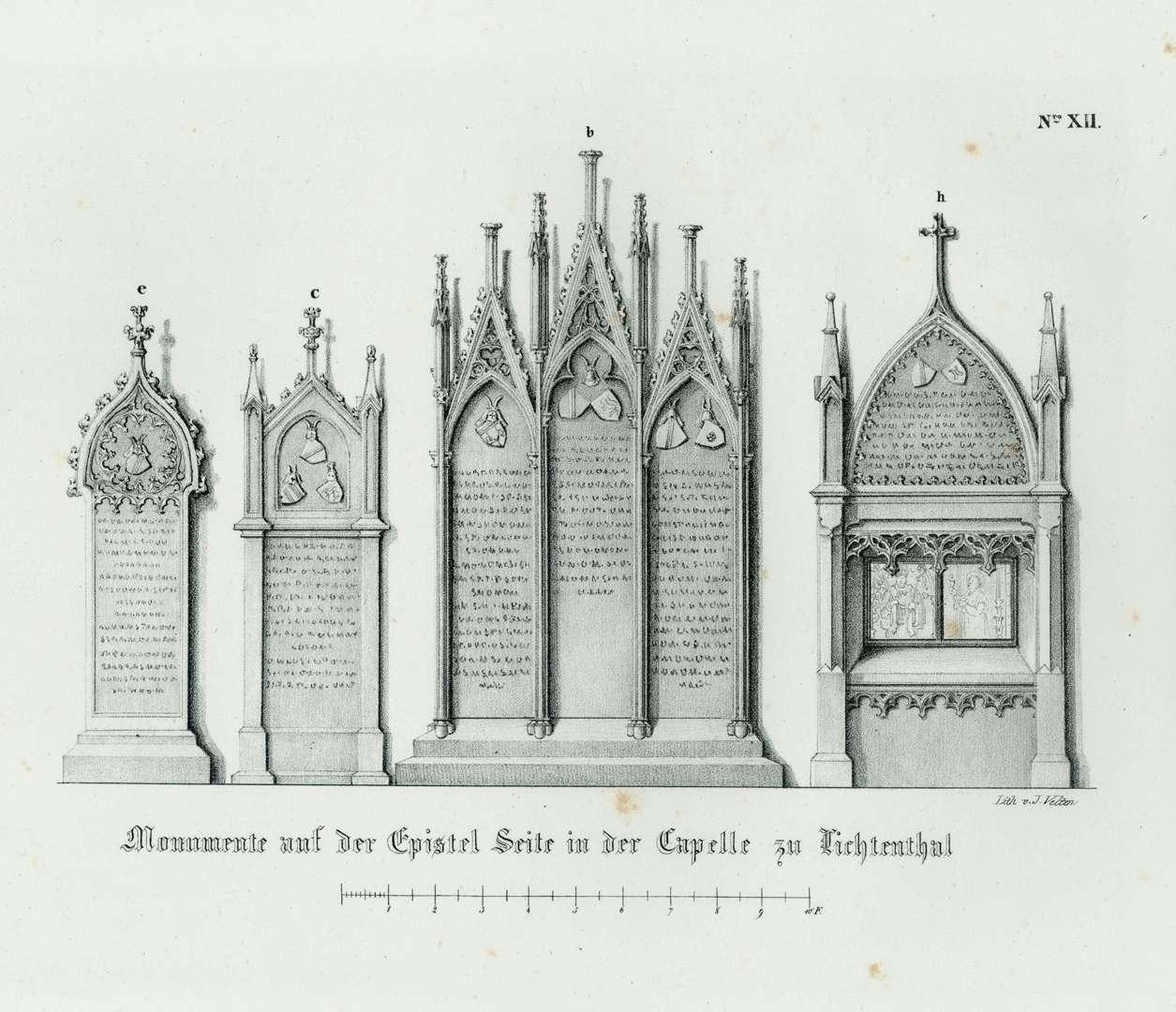 Monumente auf der Epistel Seite in der Capelle zu Lichtenthal, Bild 1