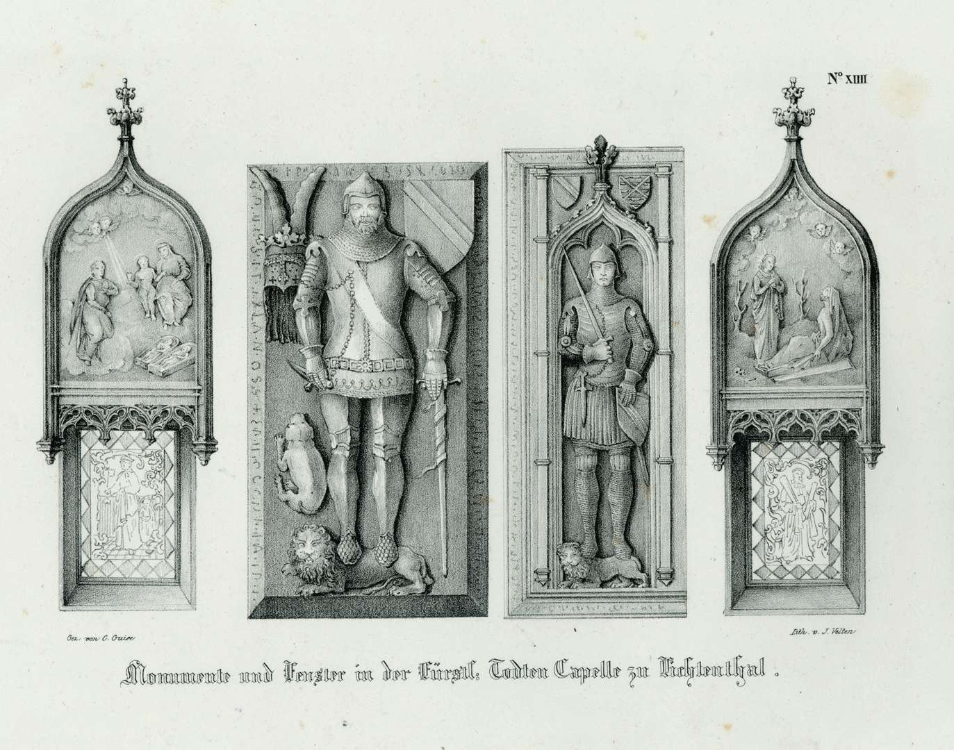 Monumente und Fenster in der Fürstl. Todten Capelle zu Lichtenthal, Bild 1
