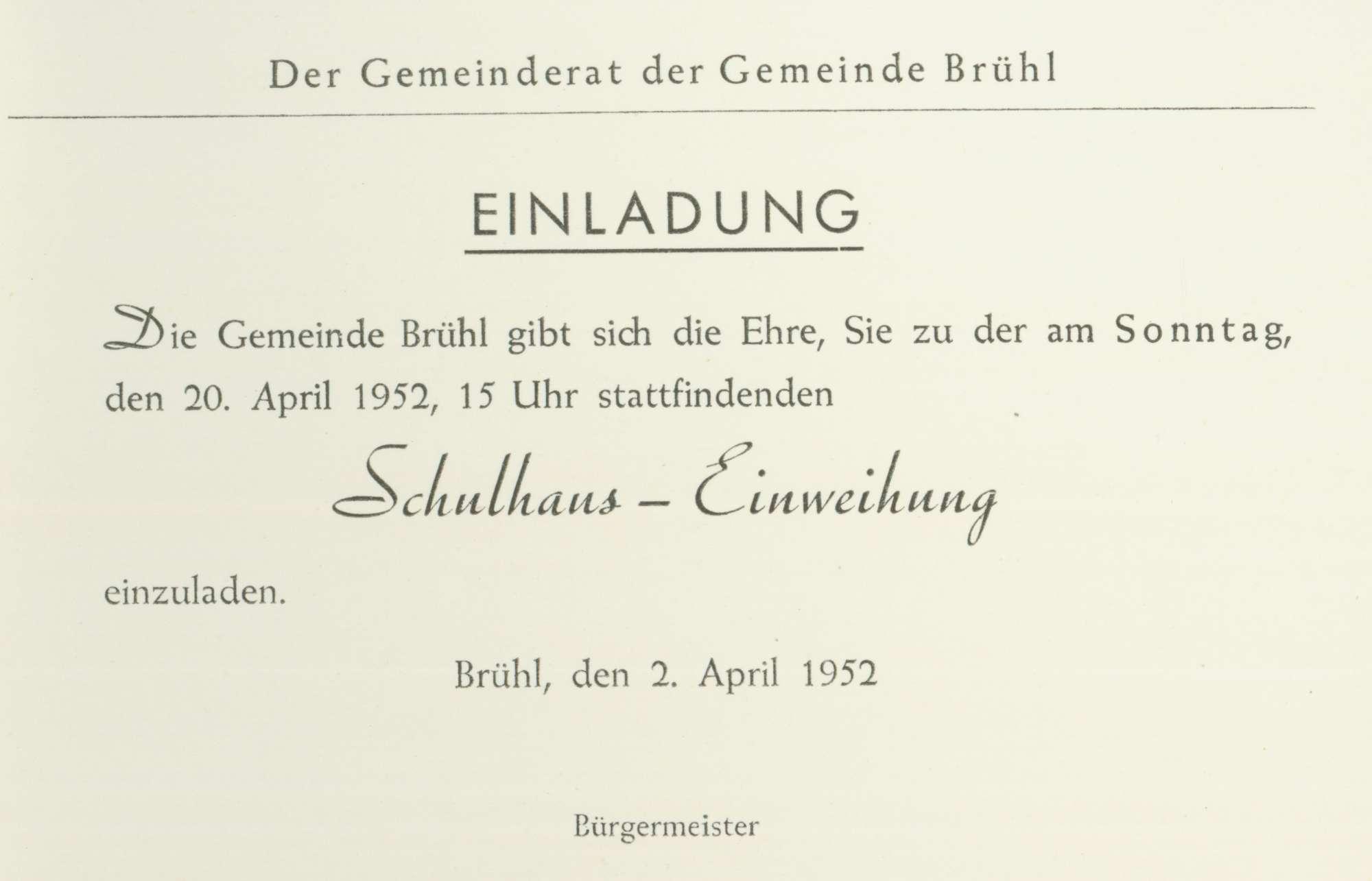 [Schulhausneubau in Brühl: Programm der Einweihungsfeier], Bild 1