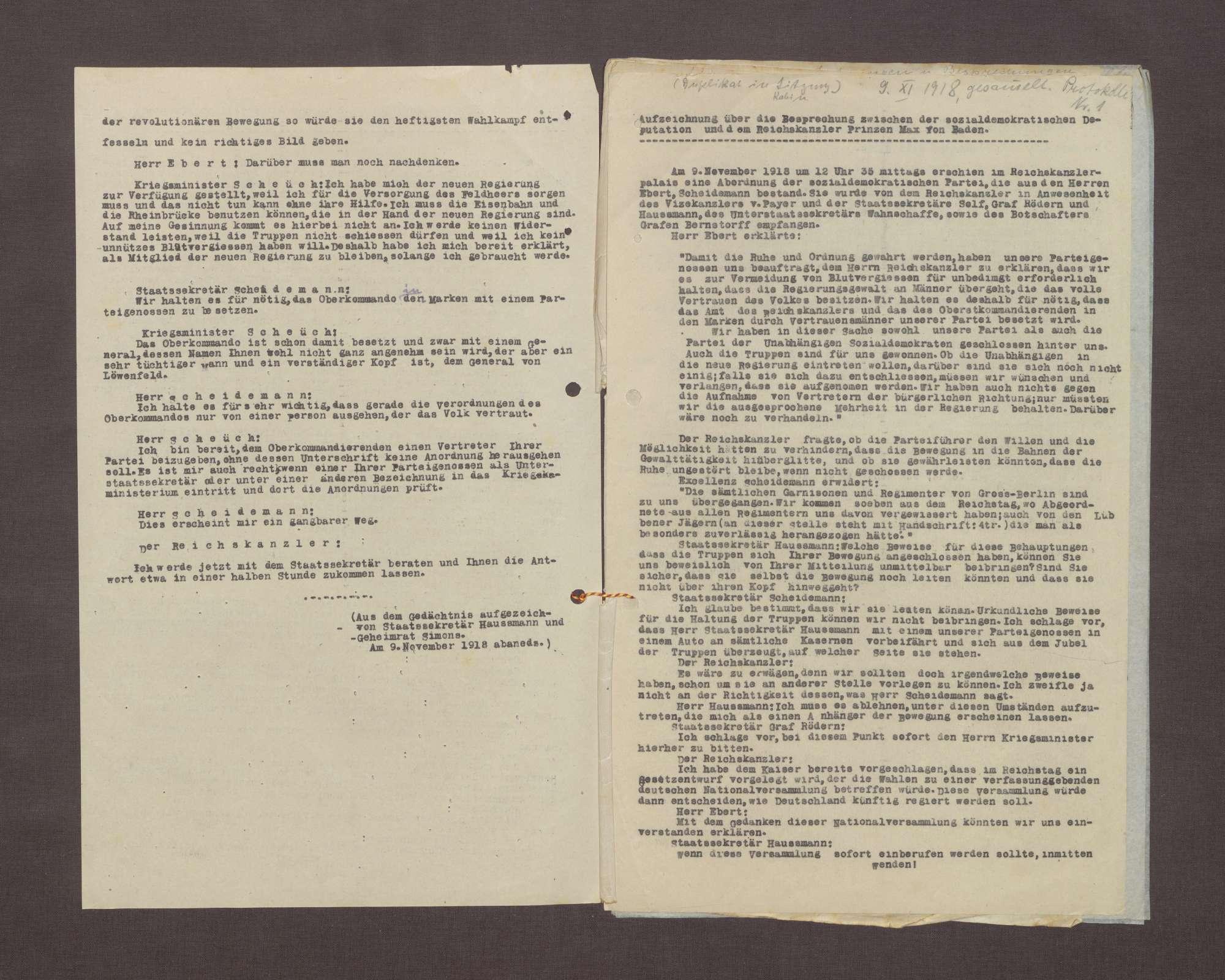 Aufzeichnung über die Besprechung zwischen der sozialdemokratischen Deputation und dem Reichskanzler Prinz Max von Baden, aus dem Gedächtnis aufgezeichnet von Staatssekretär Haußmann und Geheimrat Simons, Bild 2