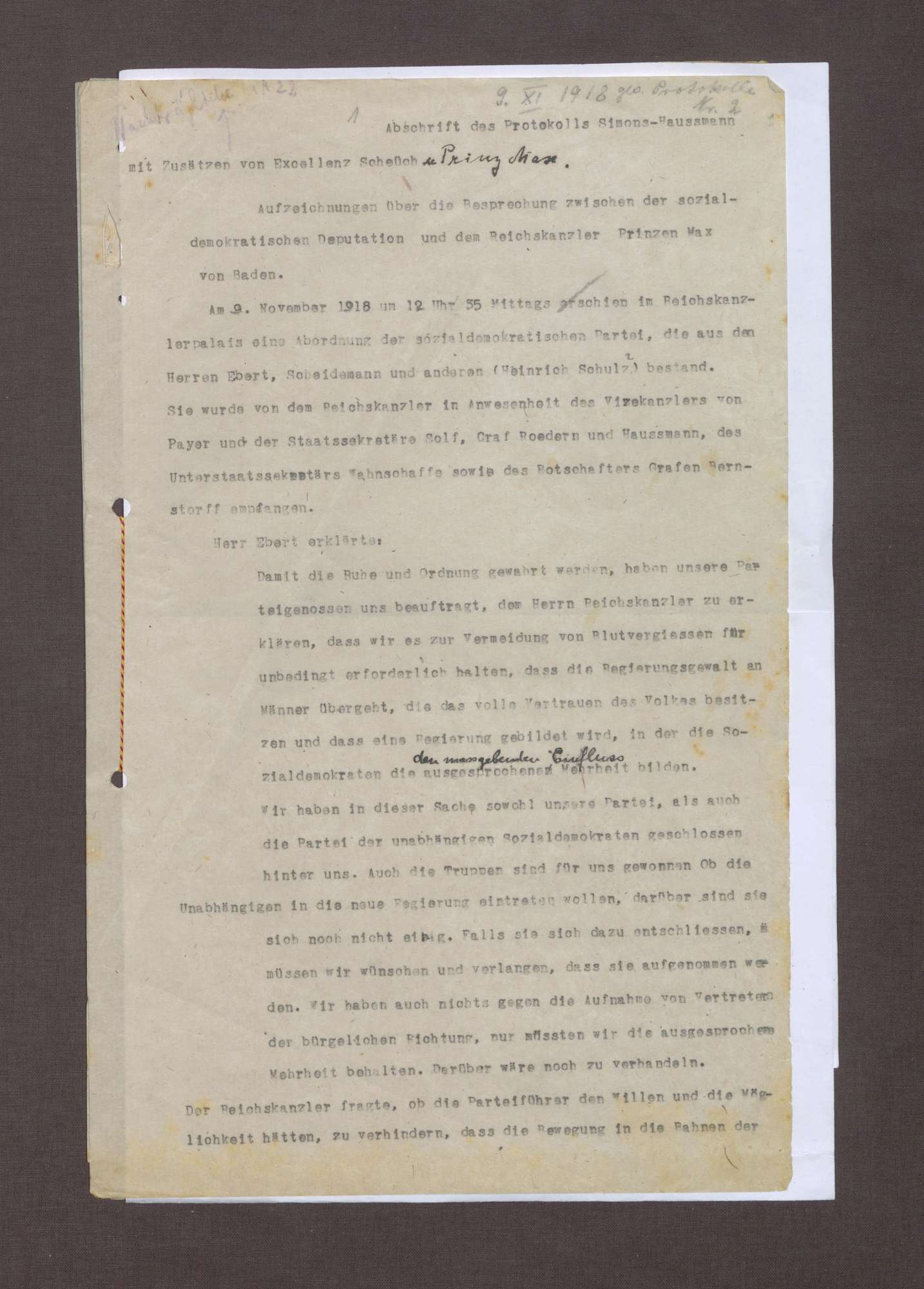 Aufzeichnung über die Besprechung zwischen der sozialdemokratischen Deputation und dem Reichskanzler Prinz Max von Baden, aus dem Gedächtnis aufgezeichnet von Staatssekretär Haußmann und Geheimrat Simons, Bild 1