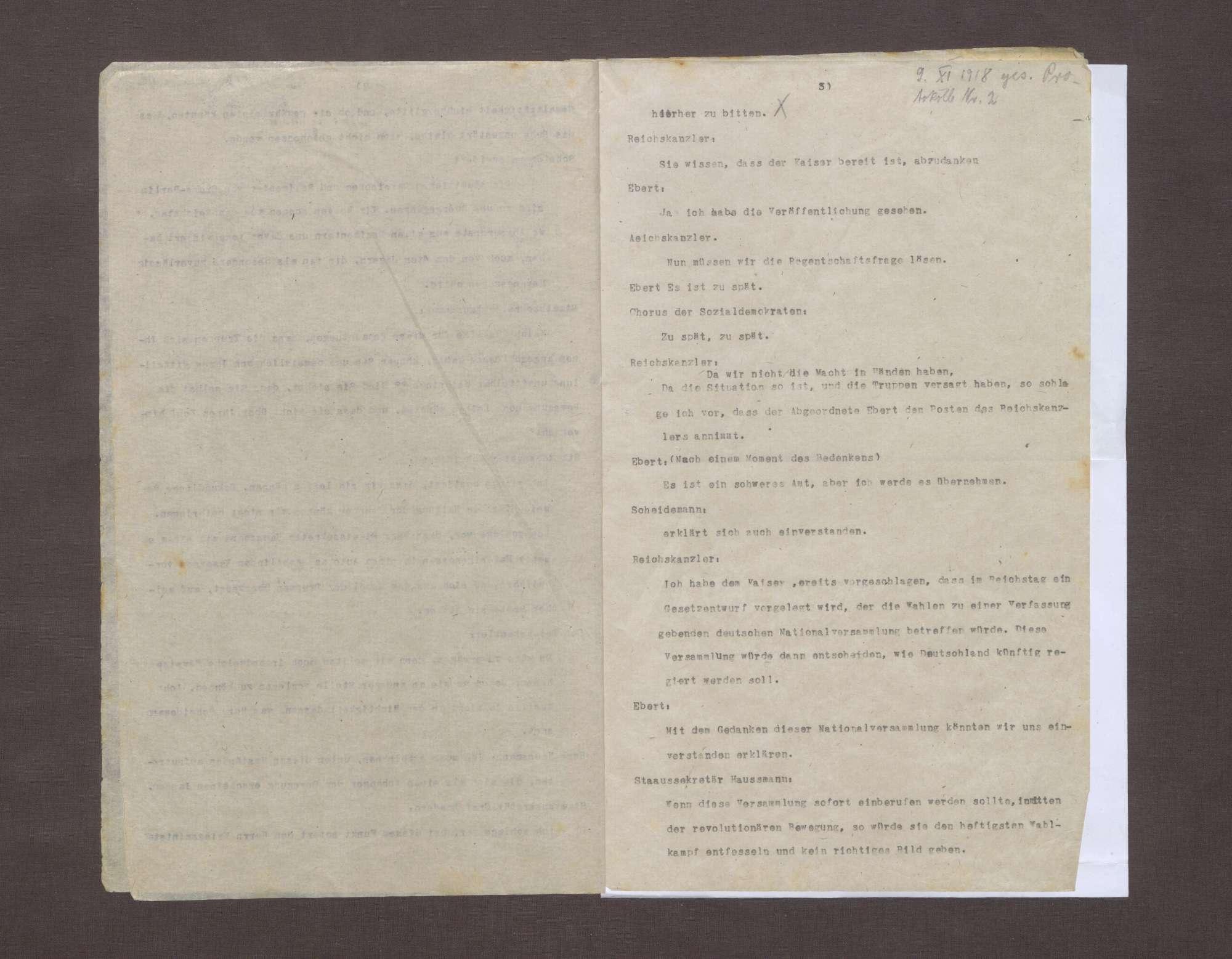 Aufzeichnung über die Besprechung zwischen der sozialdemokratischen Deputation und dem Reichskanzler Prinz Max von Baden, aus dem Gedächtnis aufgezeichnet von Staatssekretär Haußmann und Geheimrat Simons, Bild 3