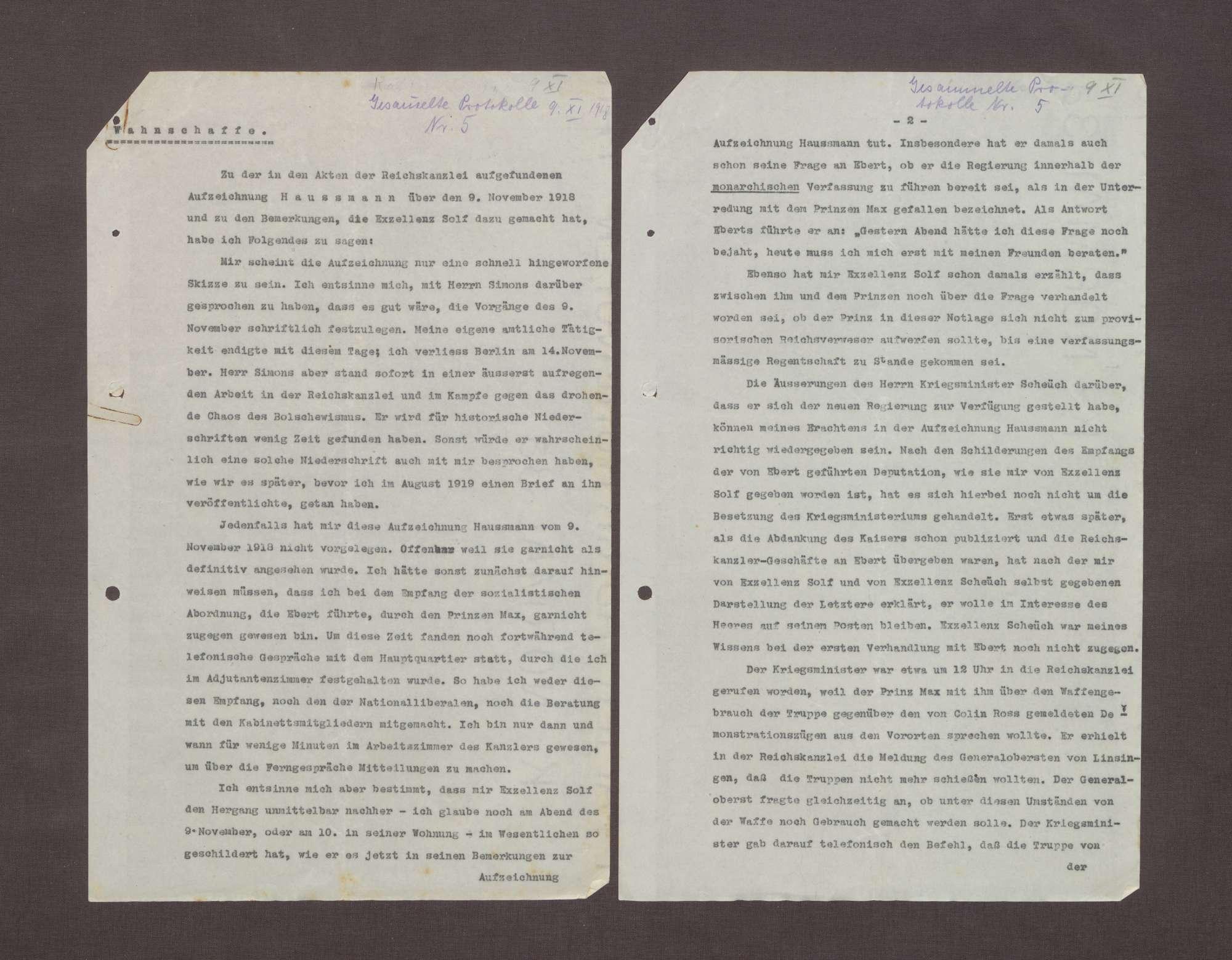 Schreiben von Arnold Wahnschaffe an Prinz Max von Baden bzgl. der Übergabe der Aufzeichnungen Haußmanns über die Ereignisse am 09.11.1918, Bild 1