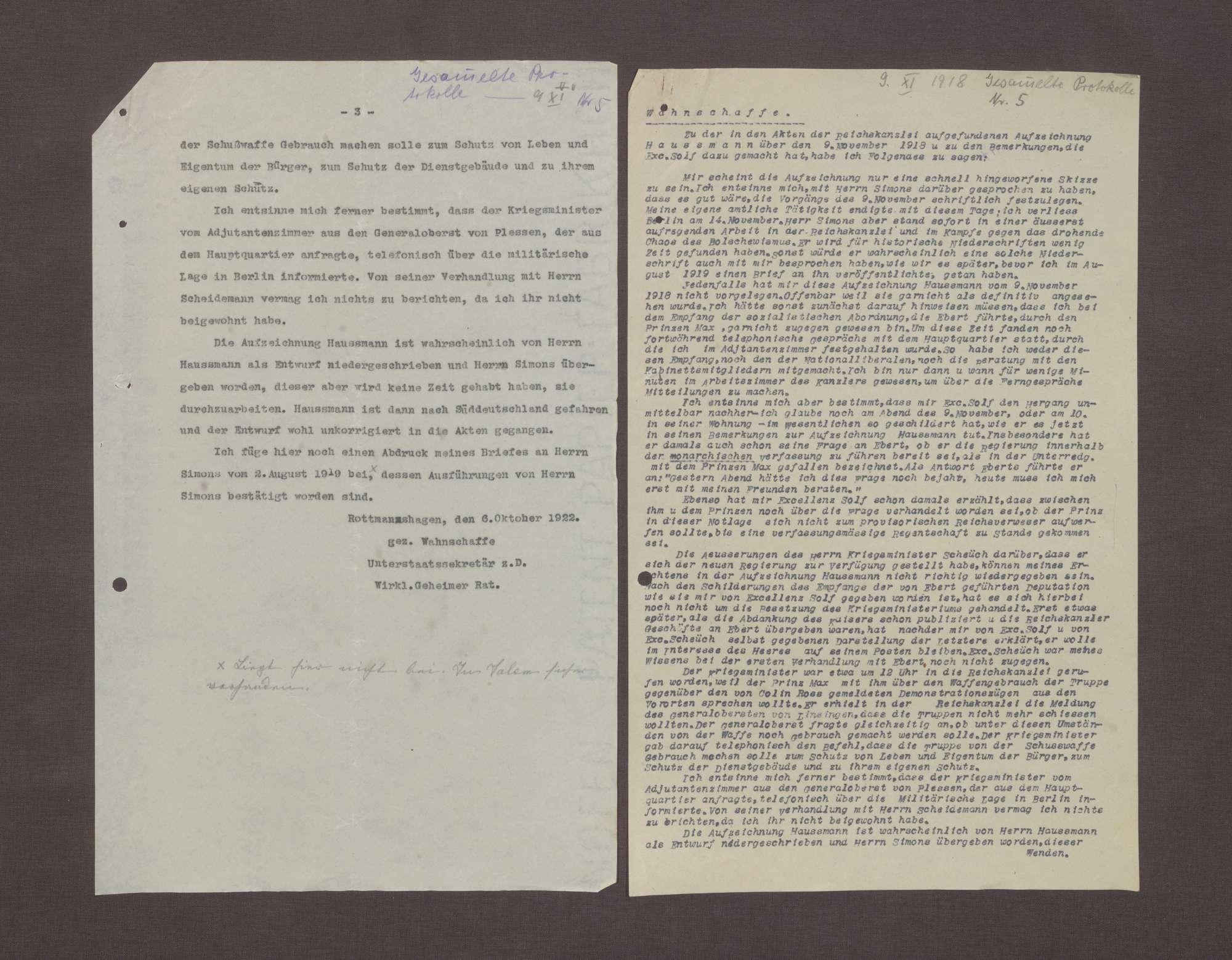 Schreiben von Arnold Wahnschaffe an Prinz Max von Baden bzgl. der Übergabe der Aufzeichnungen Haußmanns über die Ereignisse am 09.11.1918, Bild 2