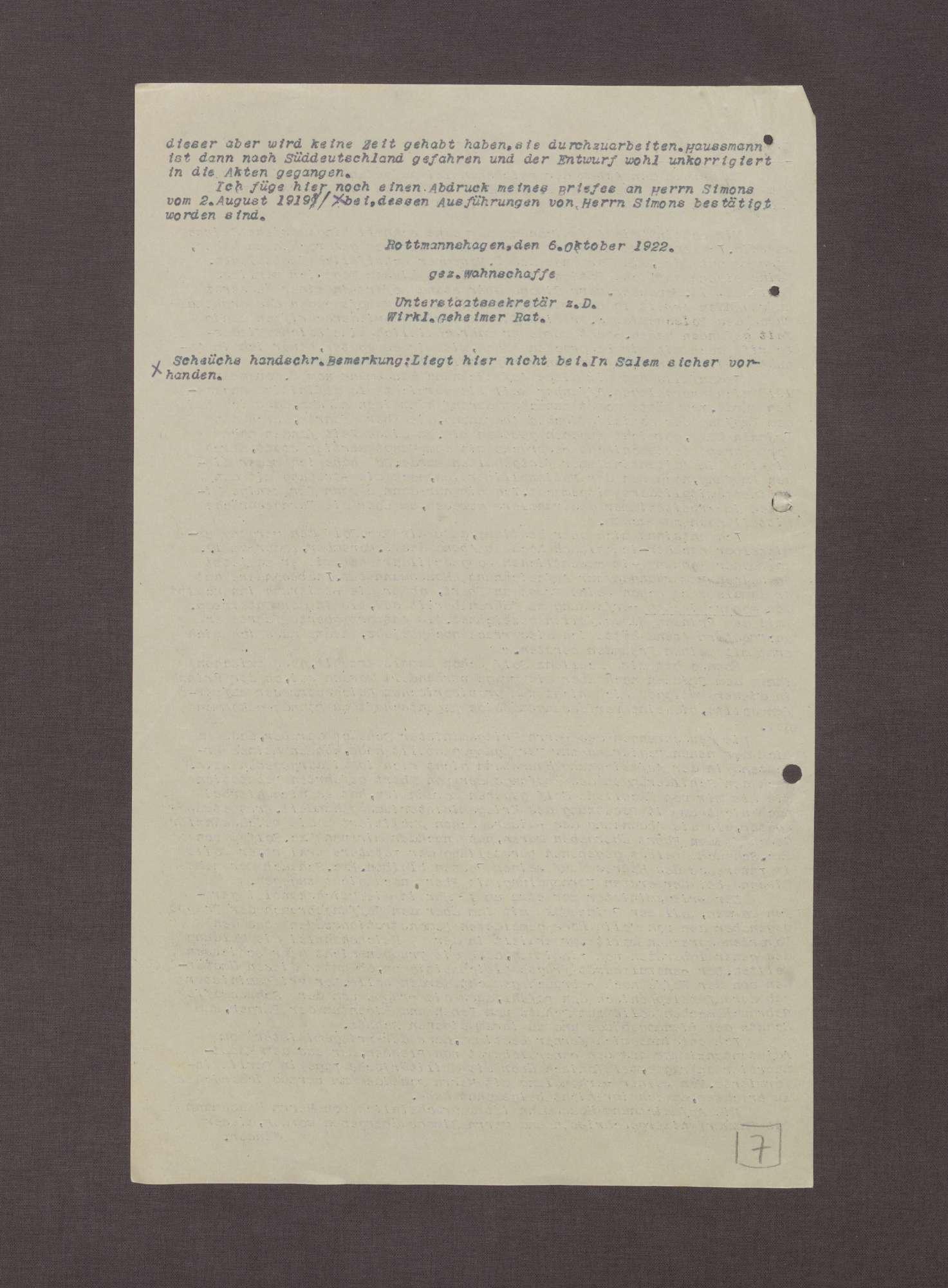 Schreiben von Arnold Wahnschaffe an Prinz Max von Baden bzgl. der Übergabe der Aufzeichnungen Haußmanns über die Ereignisse am 09.11.1918, Bild 3