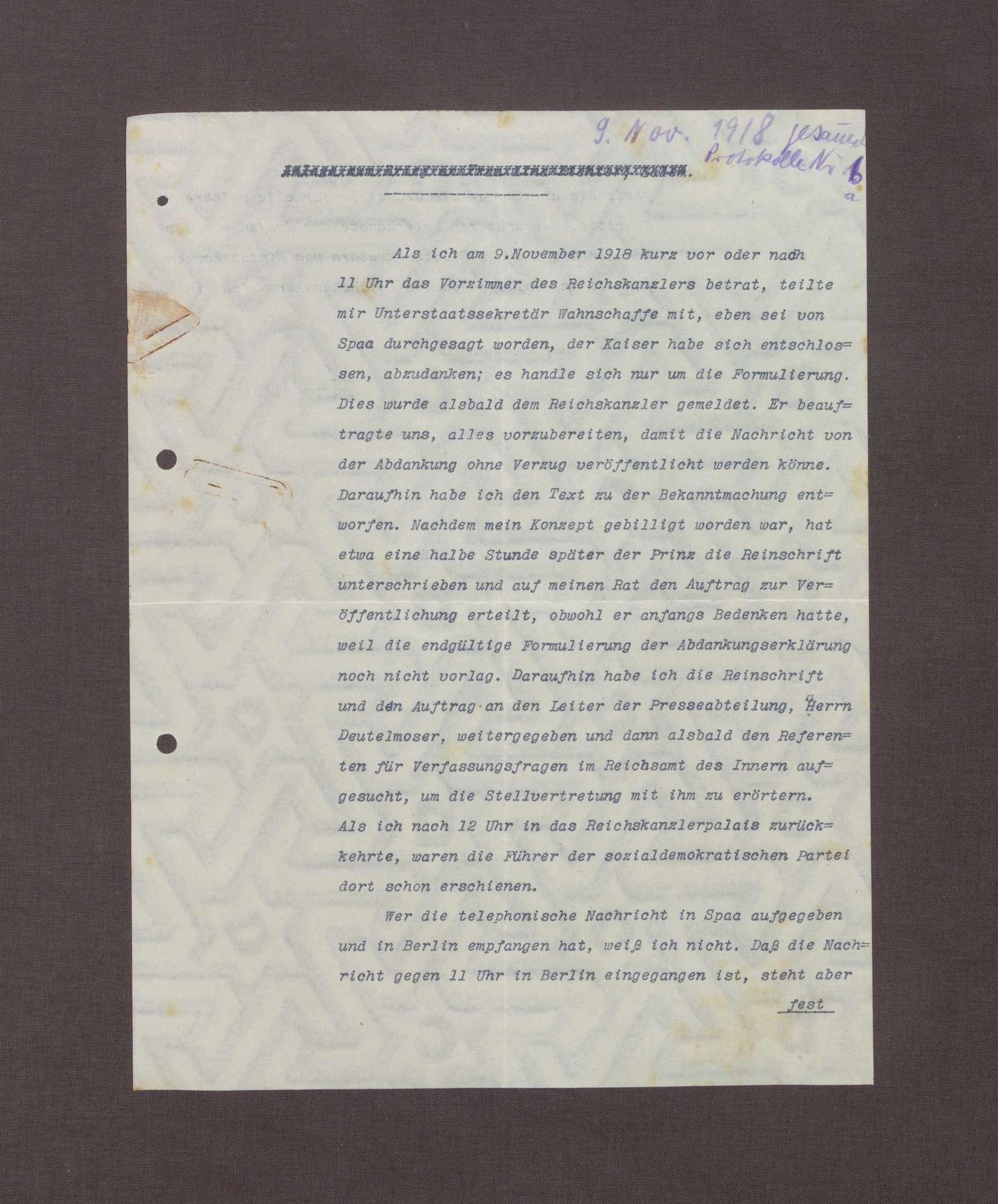 Schreiben von Walter Simons an Prinz Max von Baden bzgl. der Aufzeichnungen Haußmanns über die Ereignisse am 09.11.1918, Bild 1