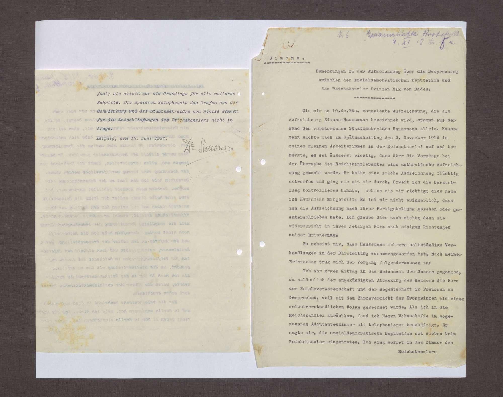 Schreiben von Walter Simons an Prinz Max von Baden bzgl. der Aufzeichnungen Haußmanns über die Ereignisse am 09.11.1918, Bild 2