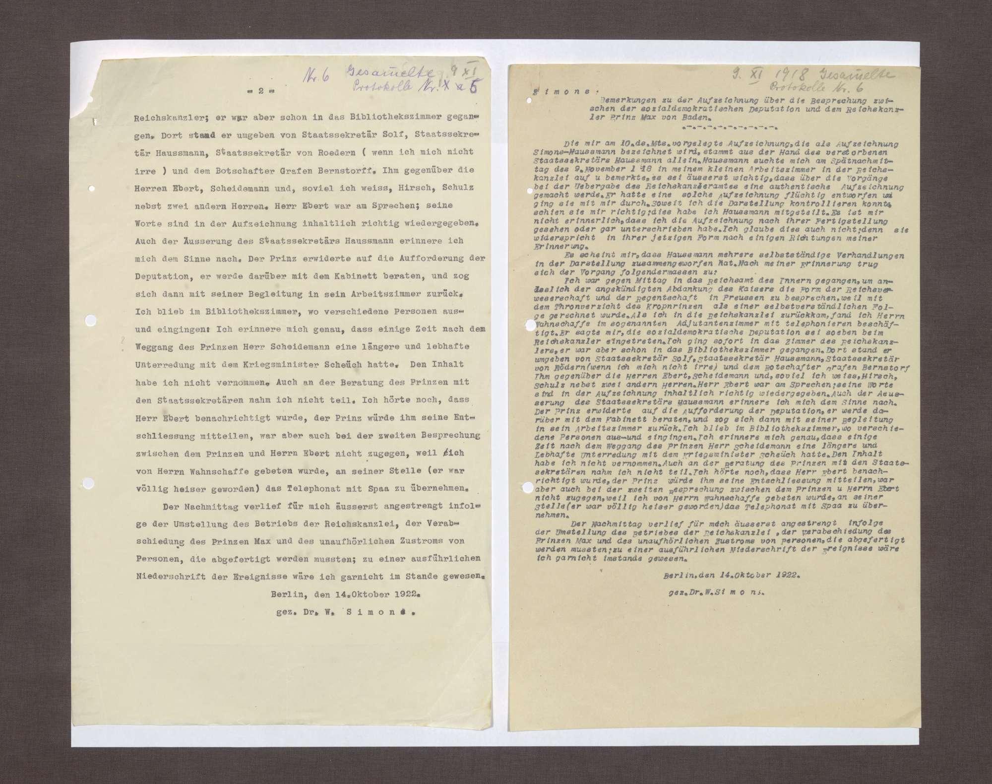 Schreiben von Walter Simons an Prinz Max von Baden bzgl. der Aufzeichnungen Haußmanns über die Ereignisse am 09.11.1918, Bild 3