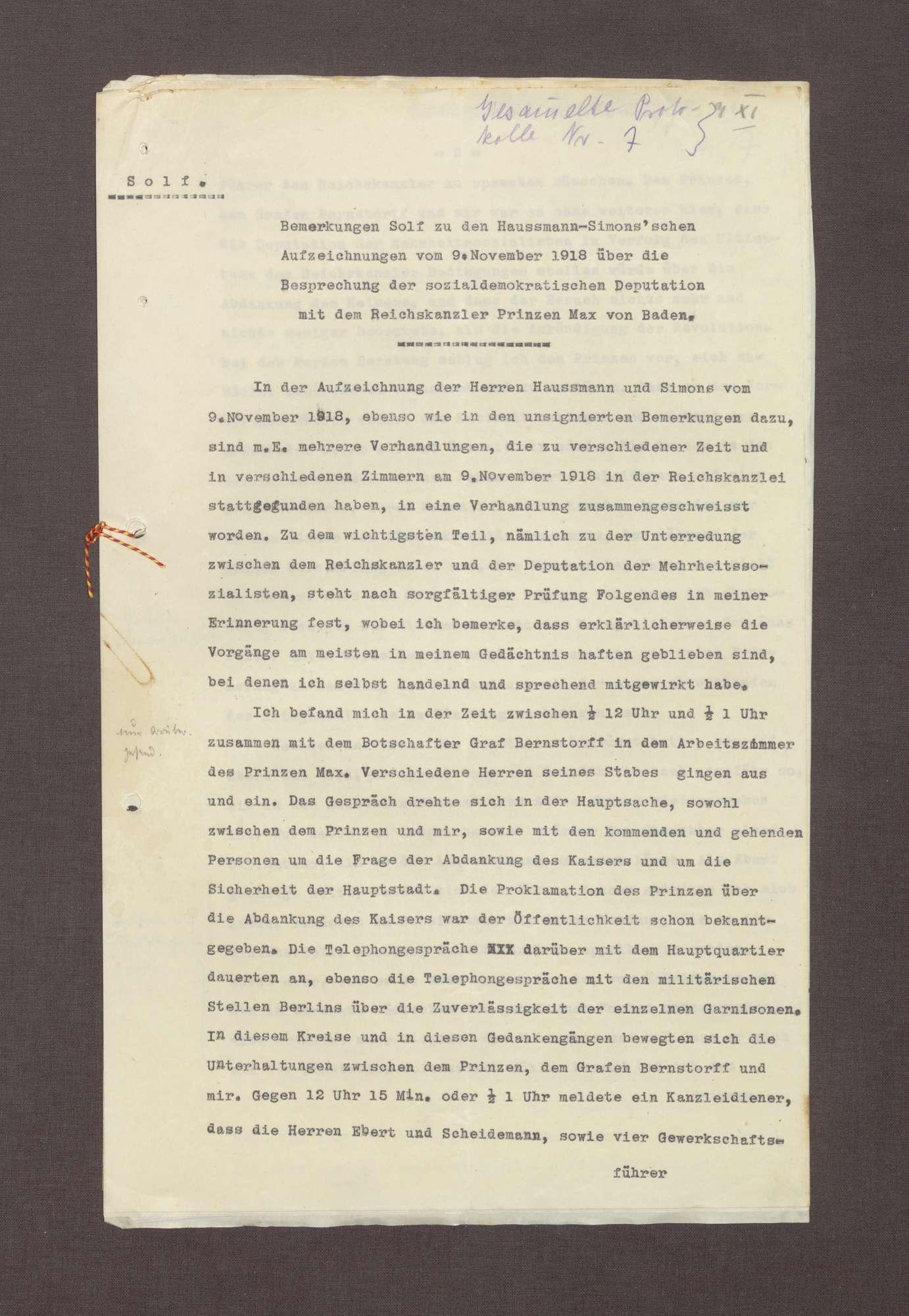 Schreiben von Wilhelm Solf an Prinz Max von Baden bzgl. der Aufzeichnungen Haußmanns über die Ereignisse am 09.11.1918, Bild 1