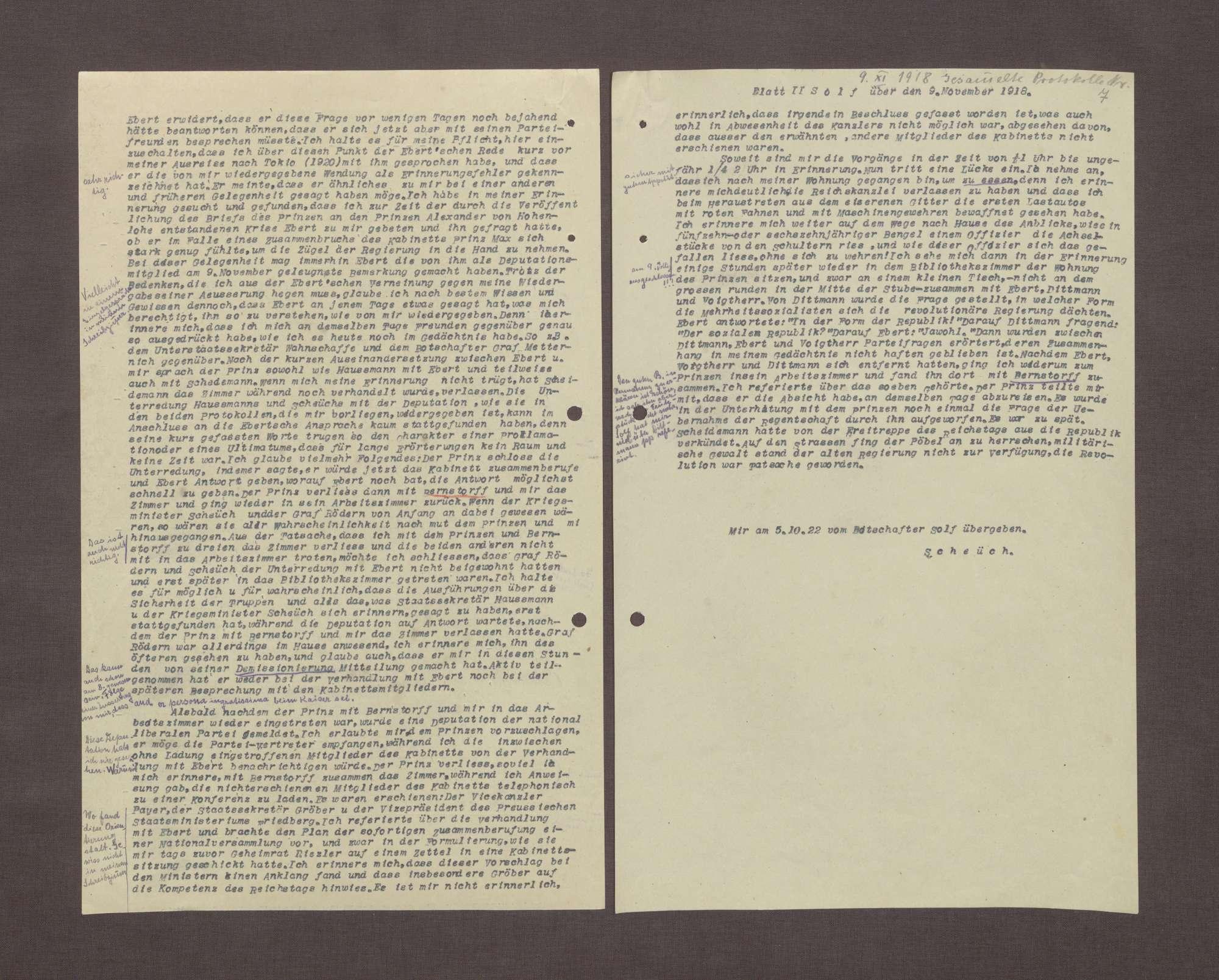 Schreiben von Wilhelm Solf an Prinz Max von Baden bzgl. der Aufzeichnungen Haußmanns über die Ereignisse am 09.11.1918, Bild 2