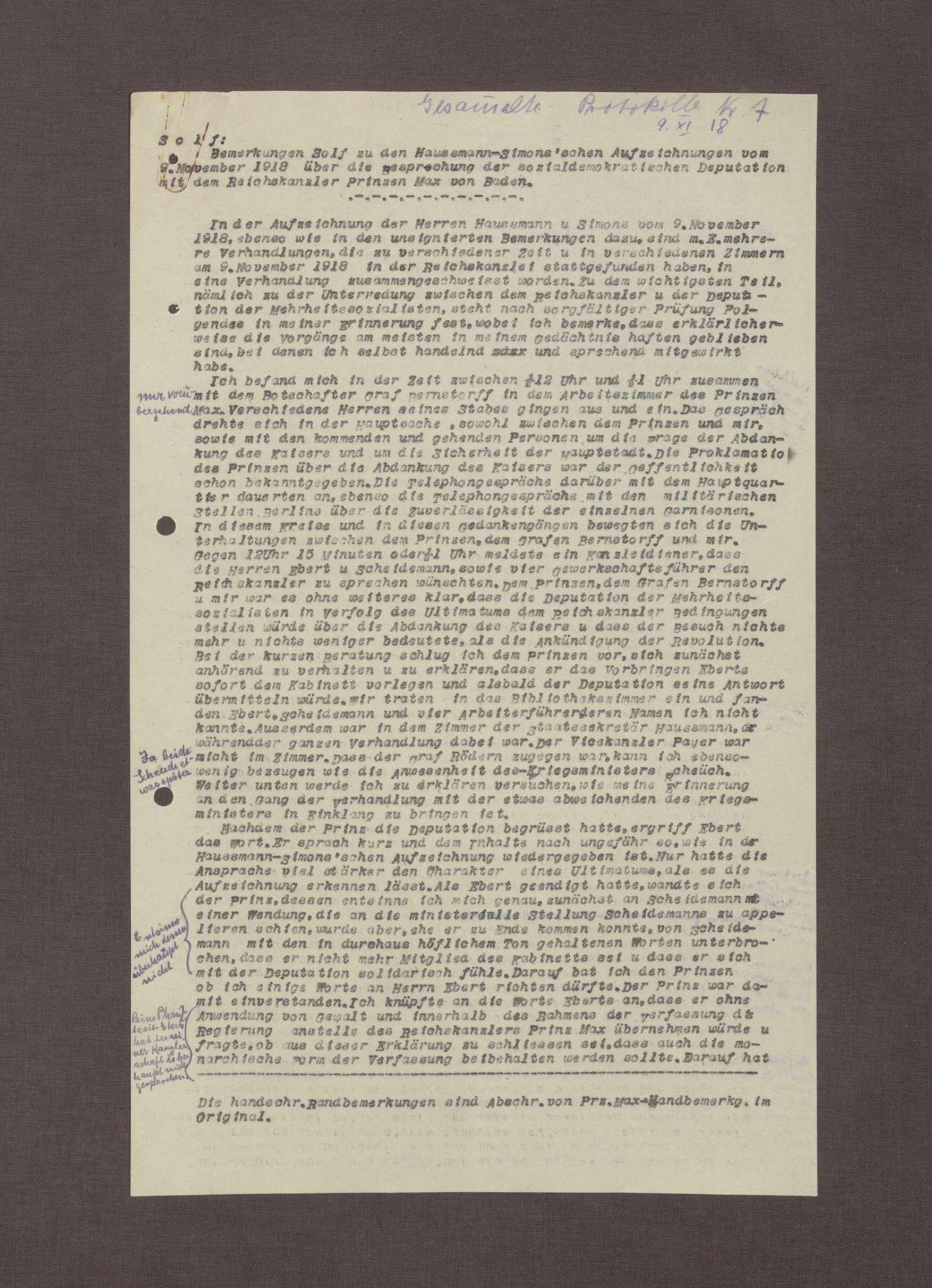 Schreiben von Wilhelm Solf an Prinz Max von Baden bzgl. der Aufzeichnungen Haußmanns über die Ereignisse am 09.11.1918, Bild 3