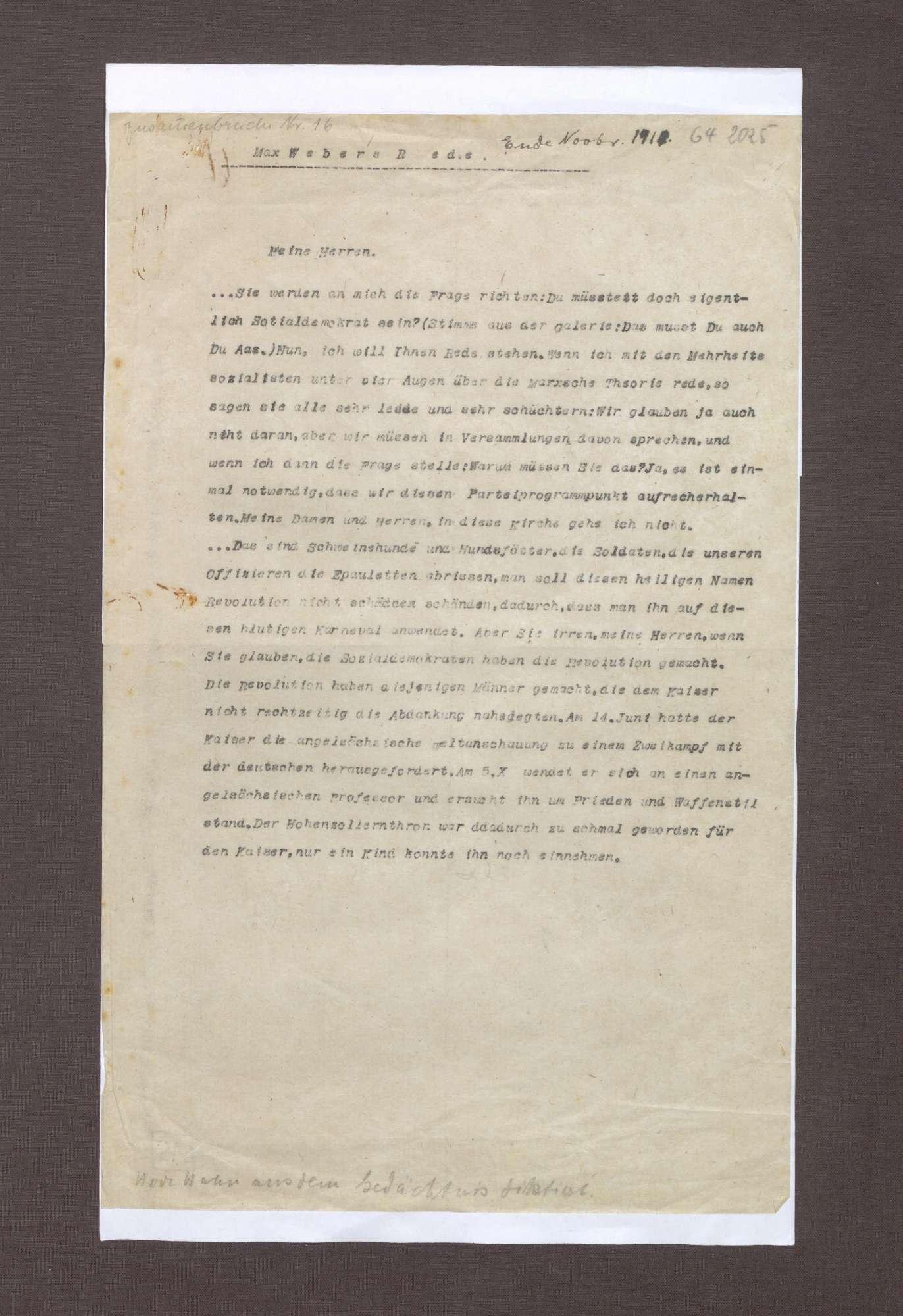 Rede von Max Weber über die Abdankung des Kaisers und die Sozialdemokratie, Bild 1