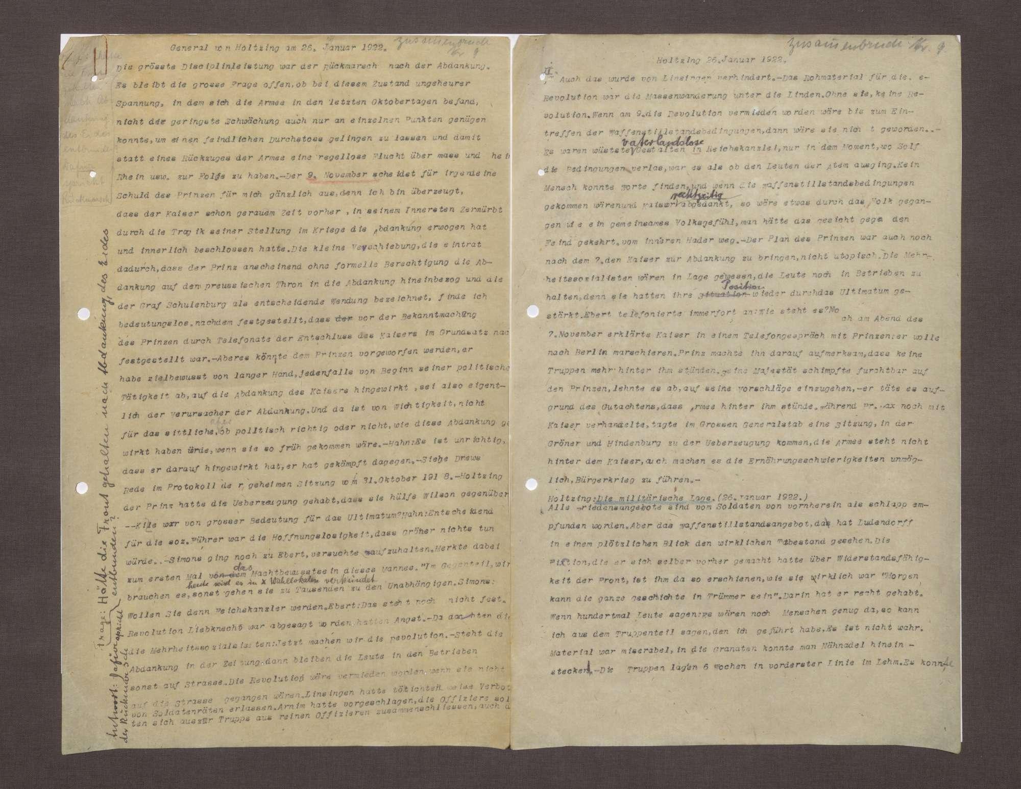 Bericht von Max von Holzing-Berstett bzgl. der Situation des Heeres 1918, Bild 1
