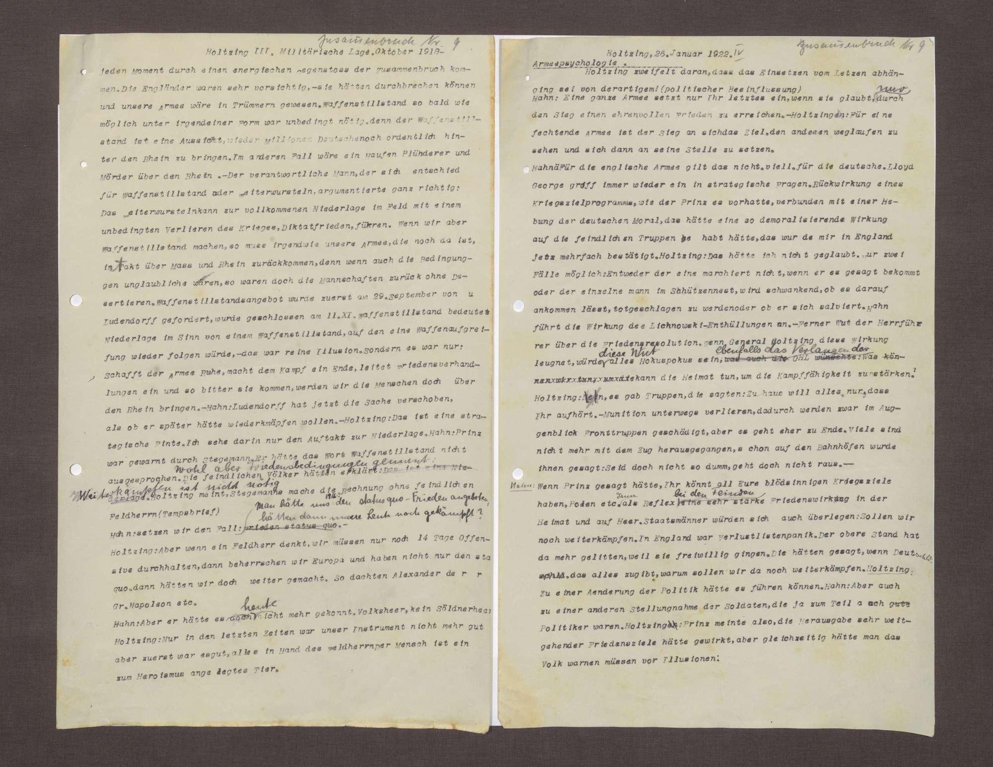 Bericht von Max von Holzing-Berstett bzgl. der Situation des Heeres 1918, Bild 2
