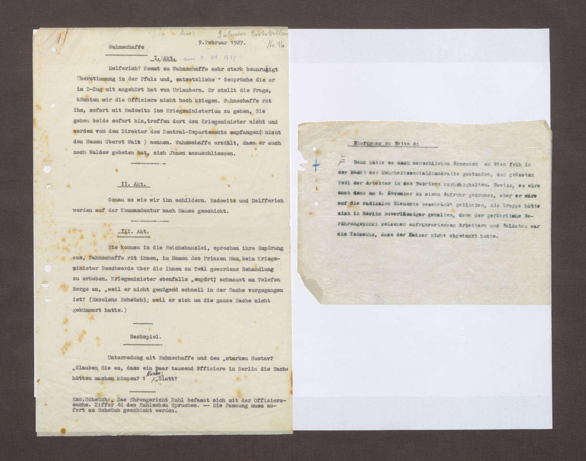 Notizen zur Rolle von Arnold Wahnschaffe und Heinrich Schëuch während der Ereignisse am 09.11.1918, Bild 1