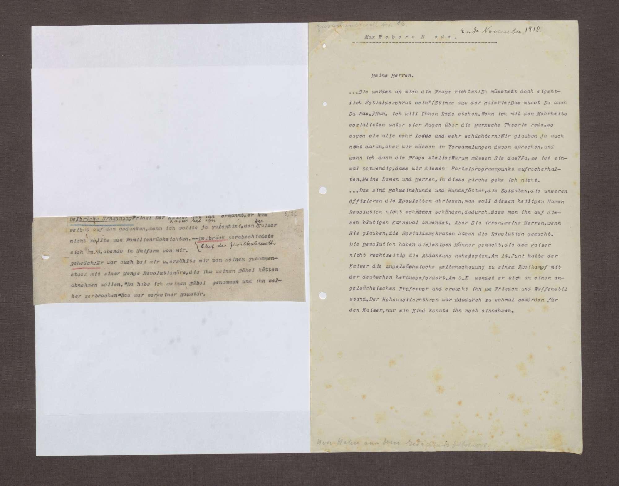 Notizen zur Rolle von Arnold Wahnschaffe und Heinrich Schëuch während der Ereignisse am 09.11.1918, Bild 2