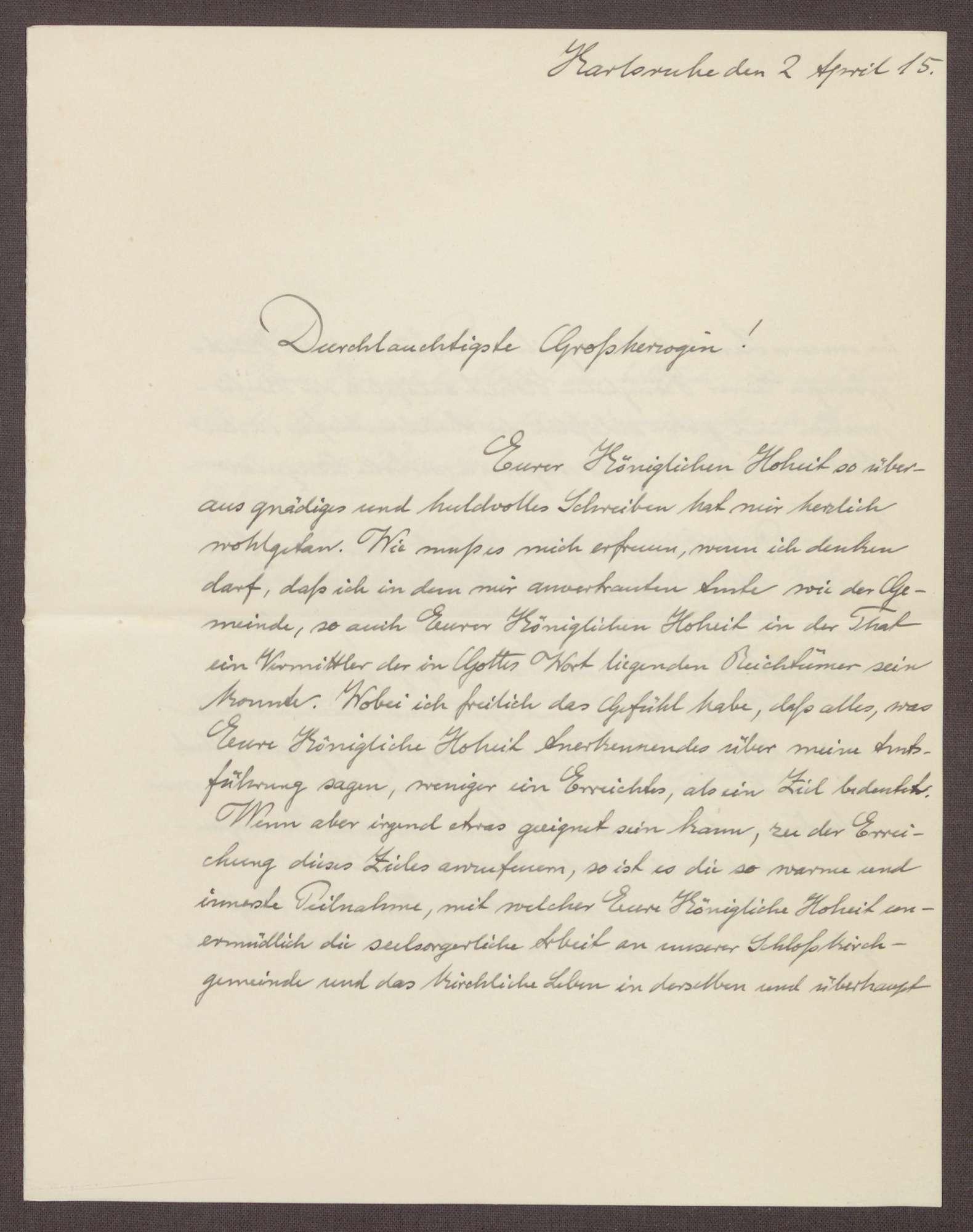 Schreiben von Ernst Fischer an die Großherzogin Luise; Dank für die Übersendung eines Schreibens, Bild 1