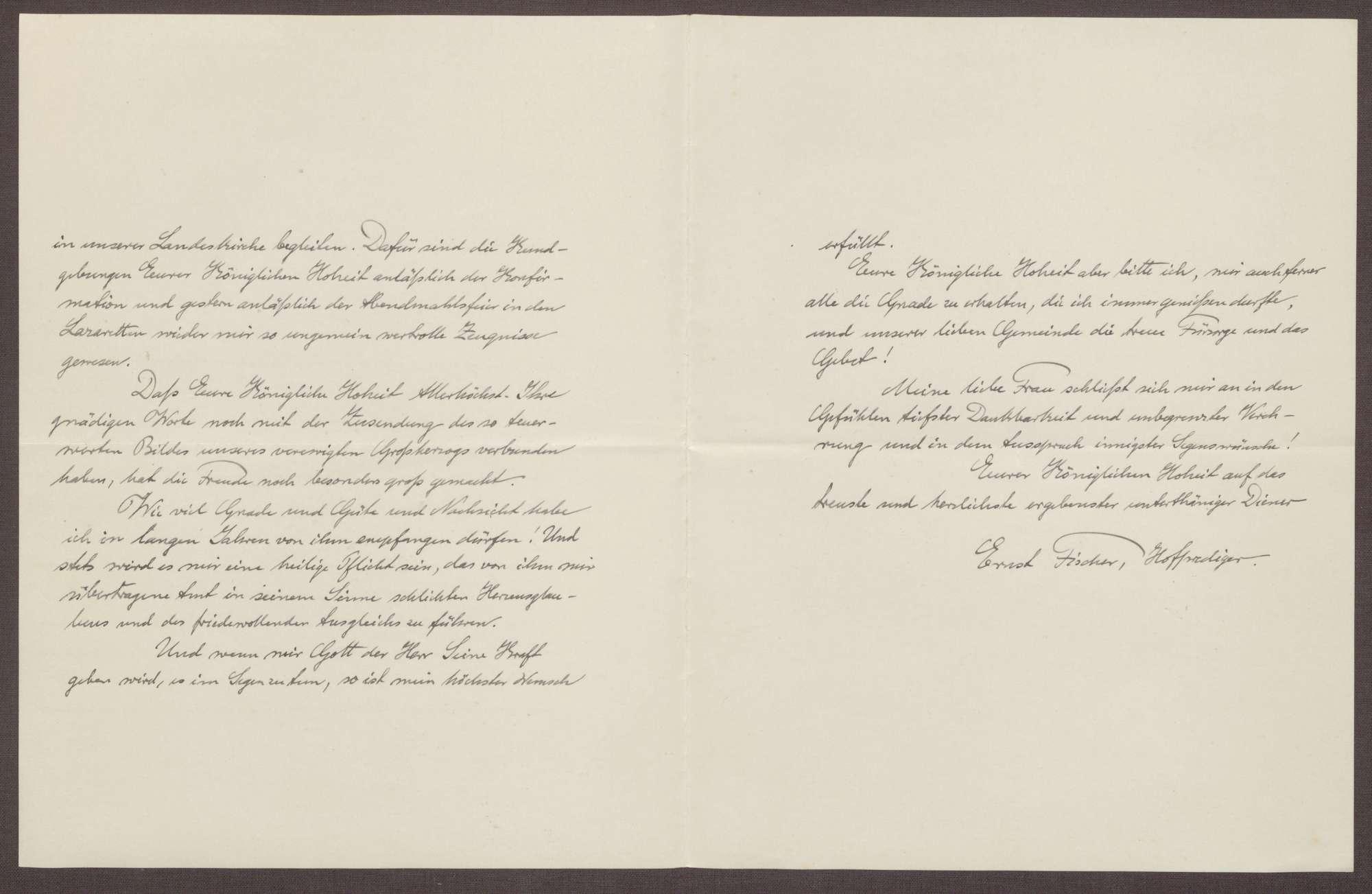 Schreiben von Ernst Fischer an die Großherzogin Luise; Dank für die Übersendung eines Schreibens, Bild 2
