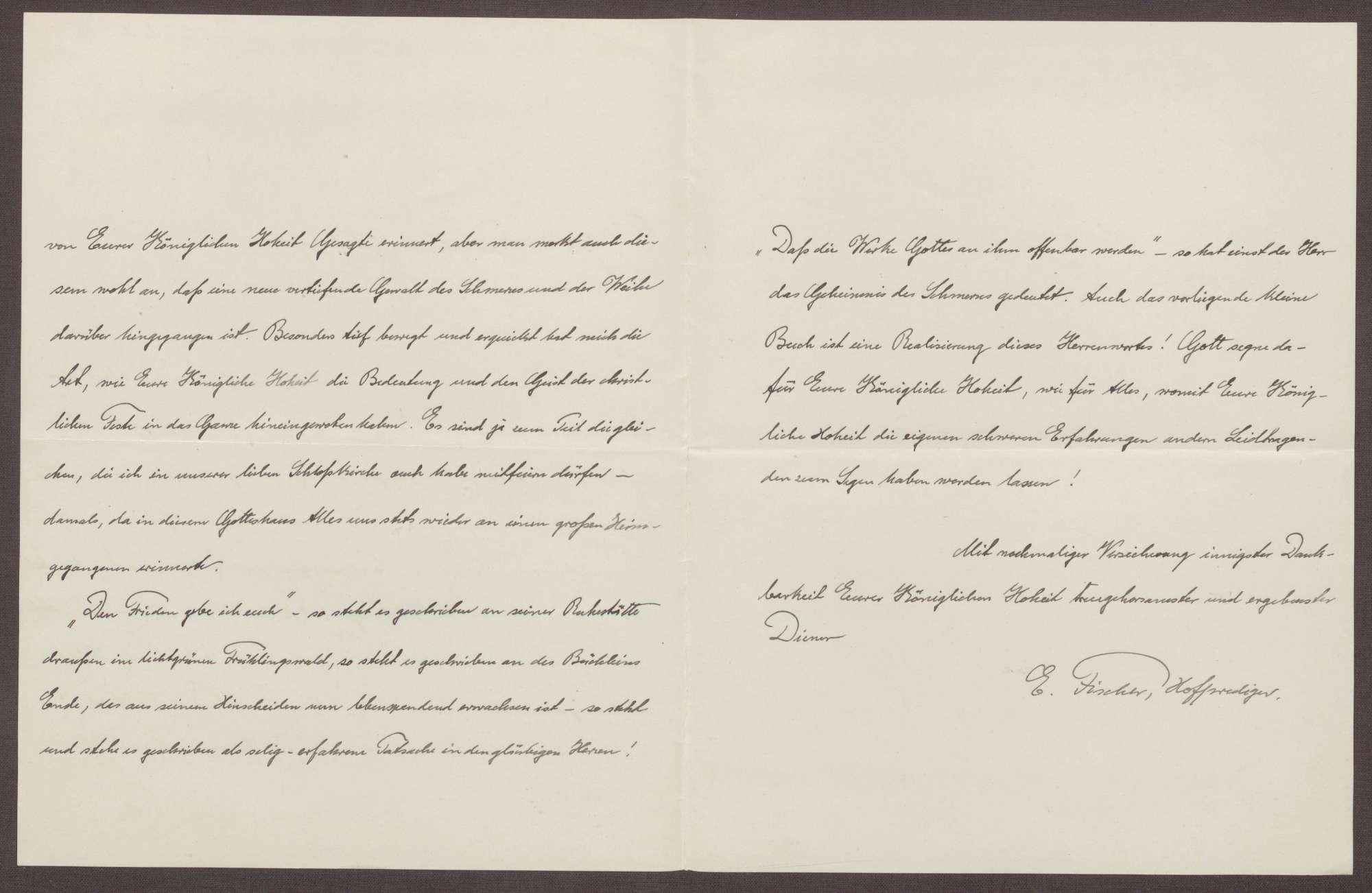 """Schreiben von Ernst Fischer an die Großherzogin Luise; Dank für die Übersendung des Buchs """"Die Leidtragenden"""" und Bericht über religiöse Themen, Bild 2"""