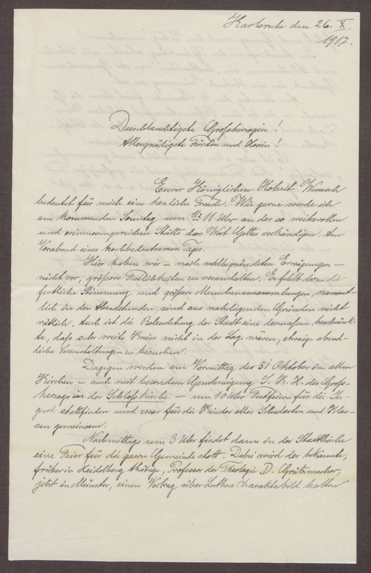 Schreiben von Ernst Fischer an die Großherzogin Luise; Feierlichkeiten zum 400. Jubiläum des Thesenanschlags von Martin Luther, Bild 1