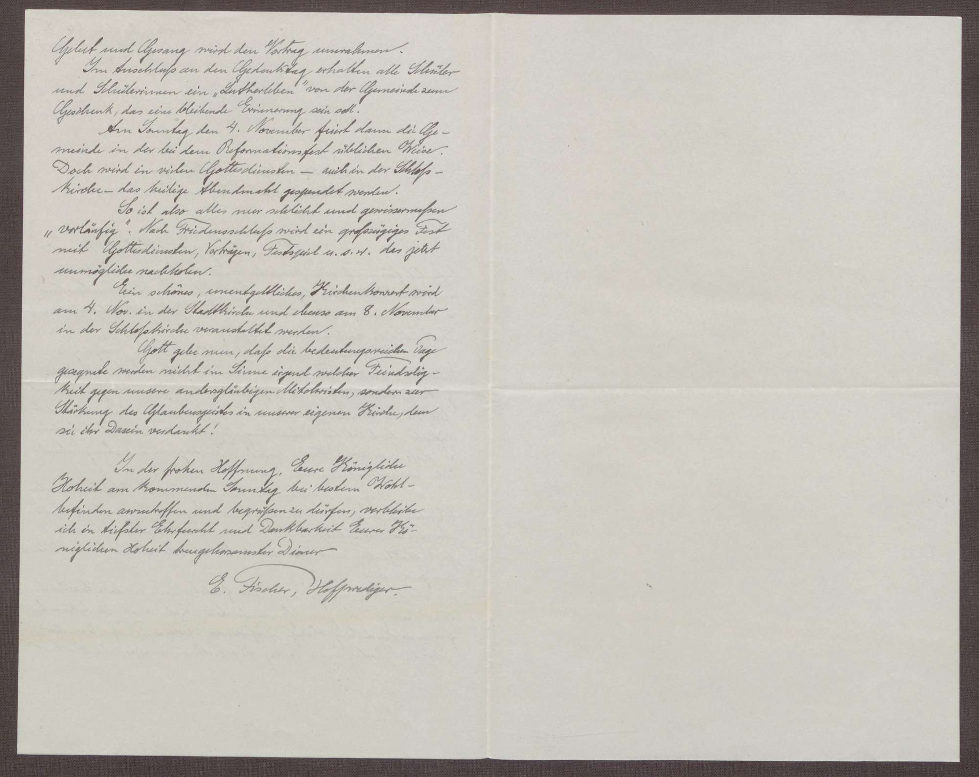 Schreiben von Ernst Fischer an die Großherzogin Luise; Feierlichkeiten zum 400. Jubiläum des Thesenanschlags von Martin Luther, Bild 2