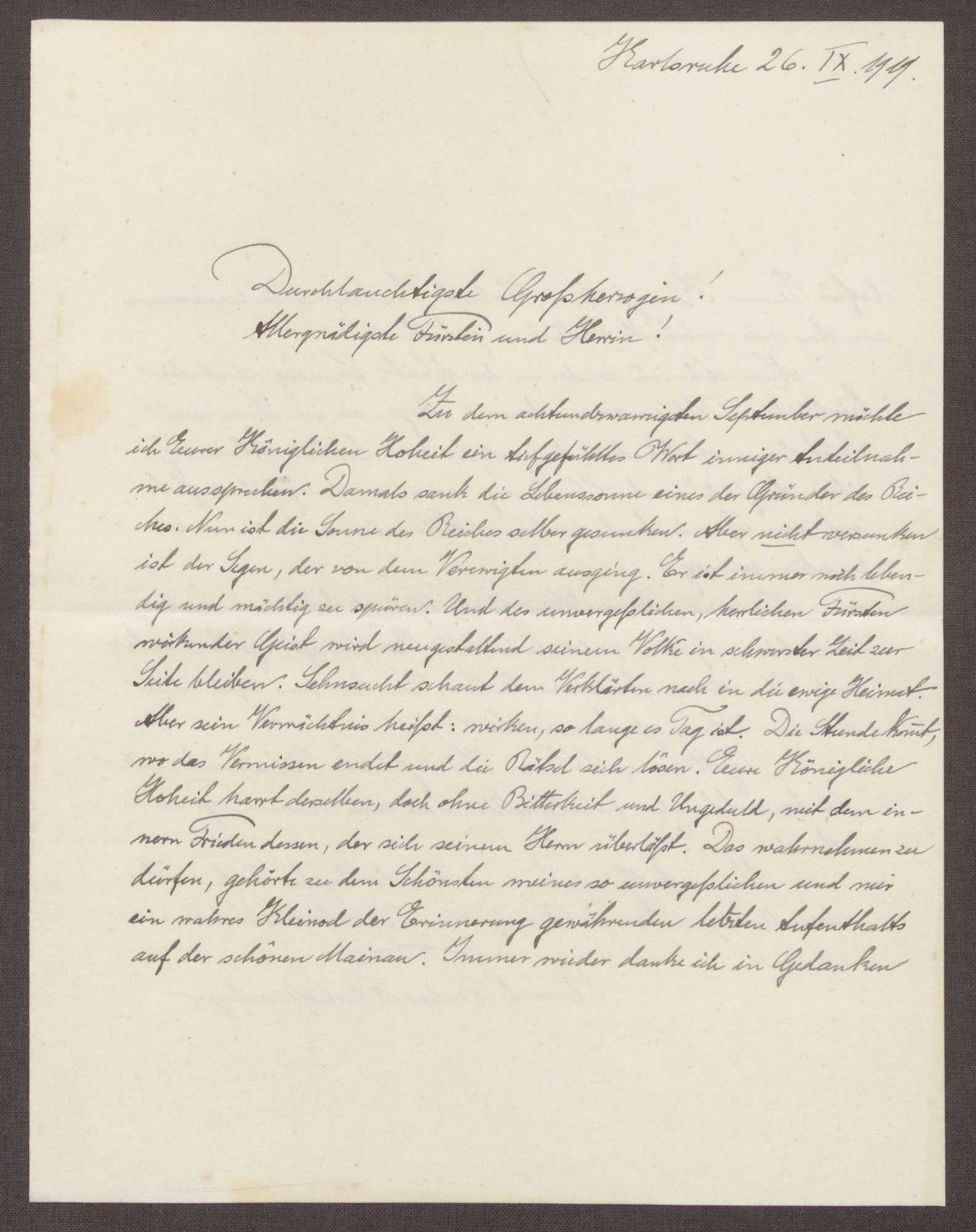 Schreiben von Ernst Fischer an die Großherzogin Luise; Erinnerung an den Tod von Großherzog Friedrich I. und Erinnerungen an einen Aufenthalt auf der Insel Mainau, Bild 1