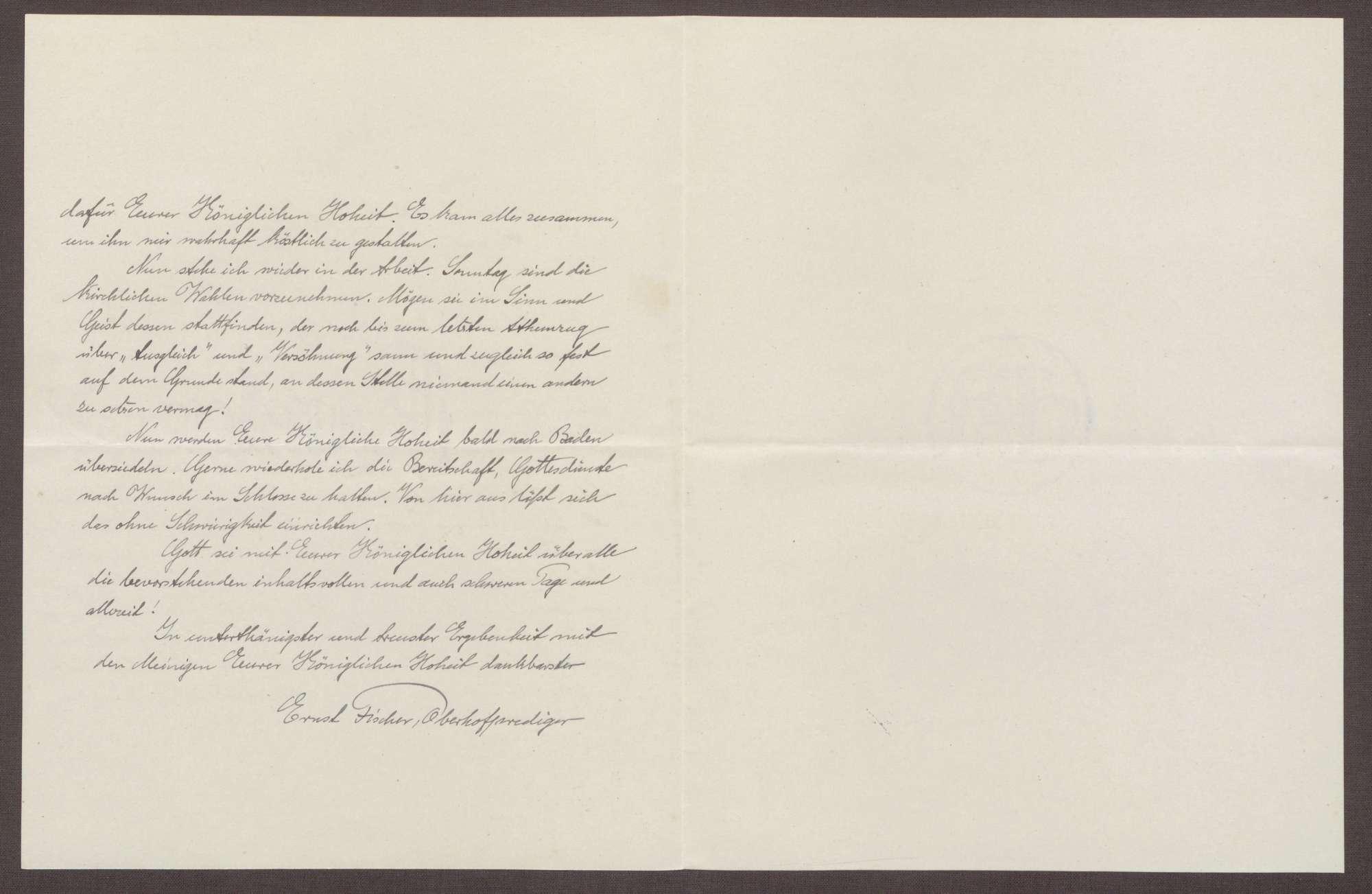 Schreiben von Ernst Fischer an die Großherzogin Luise; Erinnerung an den Tod von Großherzog Friedrich I. und Erinnerungen an einen Aufenthalt auf der Insel Mainau, Bild 2