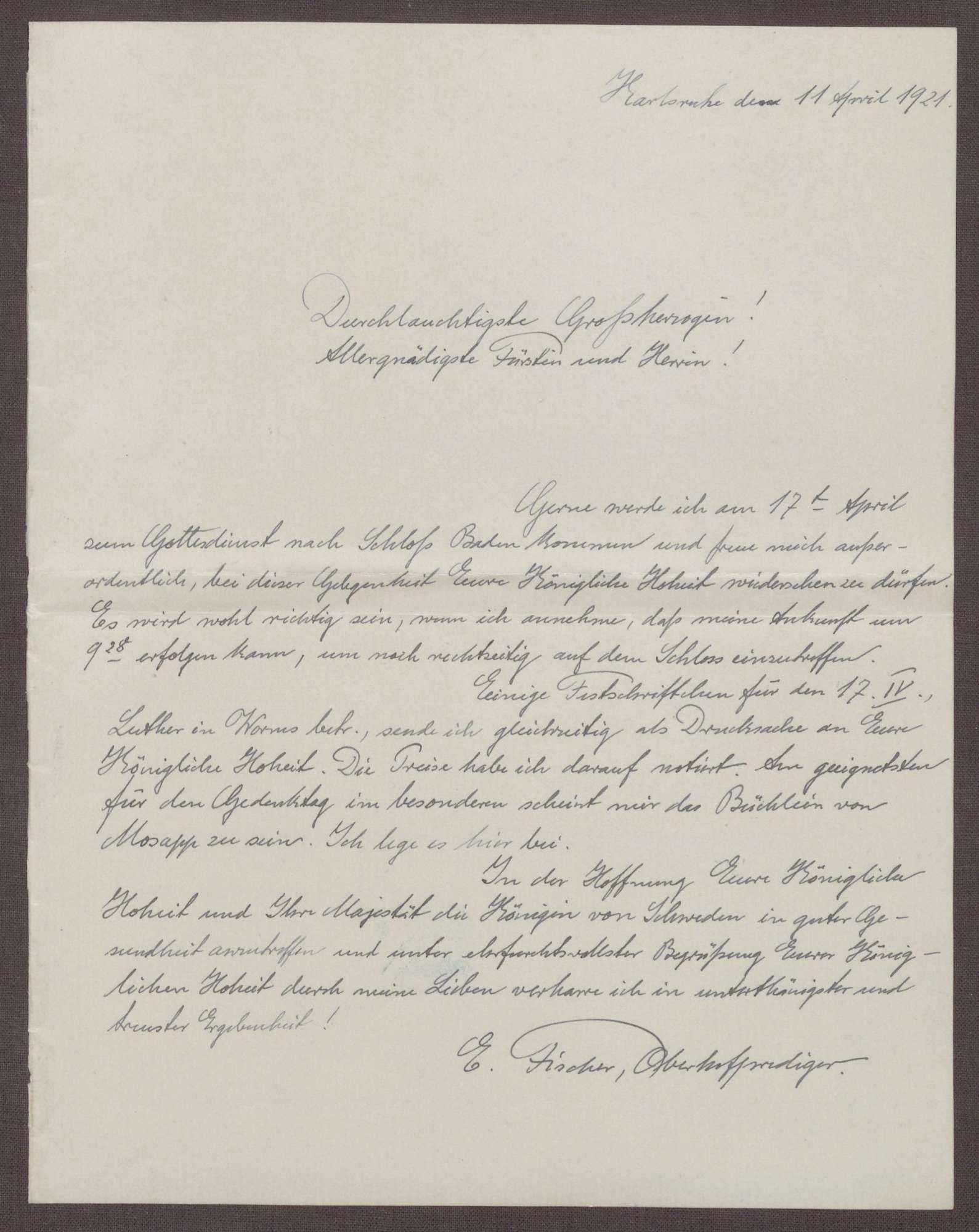 Schreiben von Ernst Fischer an die Großherzogin Luise; Bestätigung eines Gottesdienstes im Schloß Baden-Baden, Bild 1