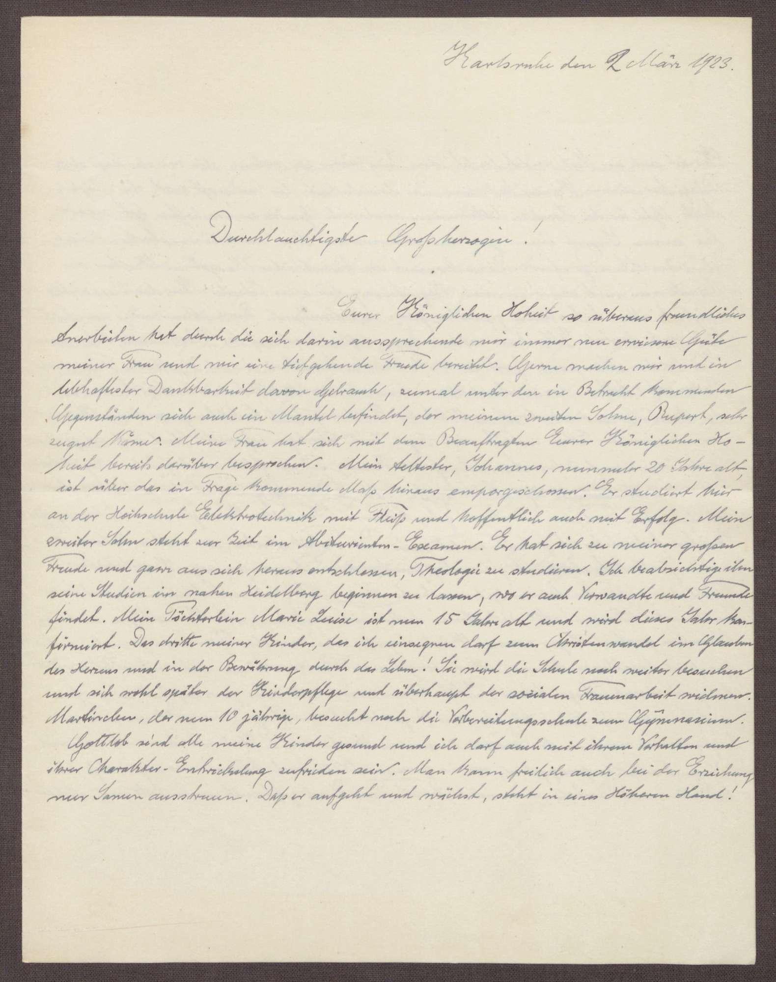 Schreiben von Ernst Fischer an die Großherzogin Luise; Bericht über die Kinder von Ernst Fischer und Reflexionen über den gesellschaftlichen Wandel, Bild 1