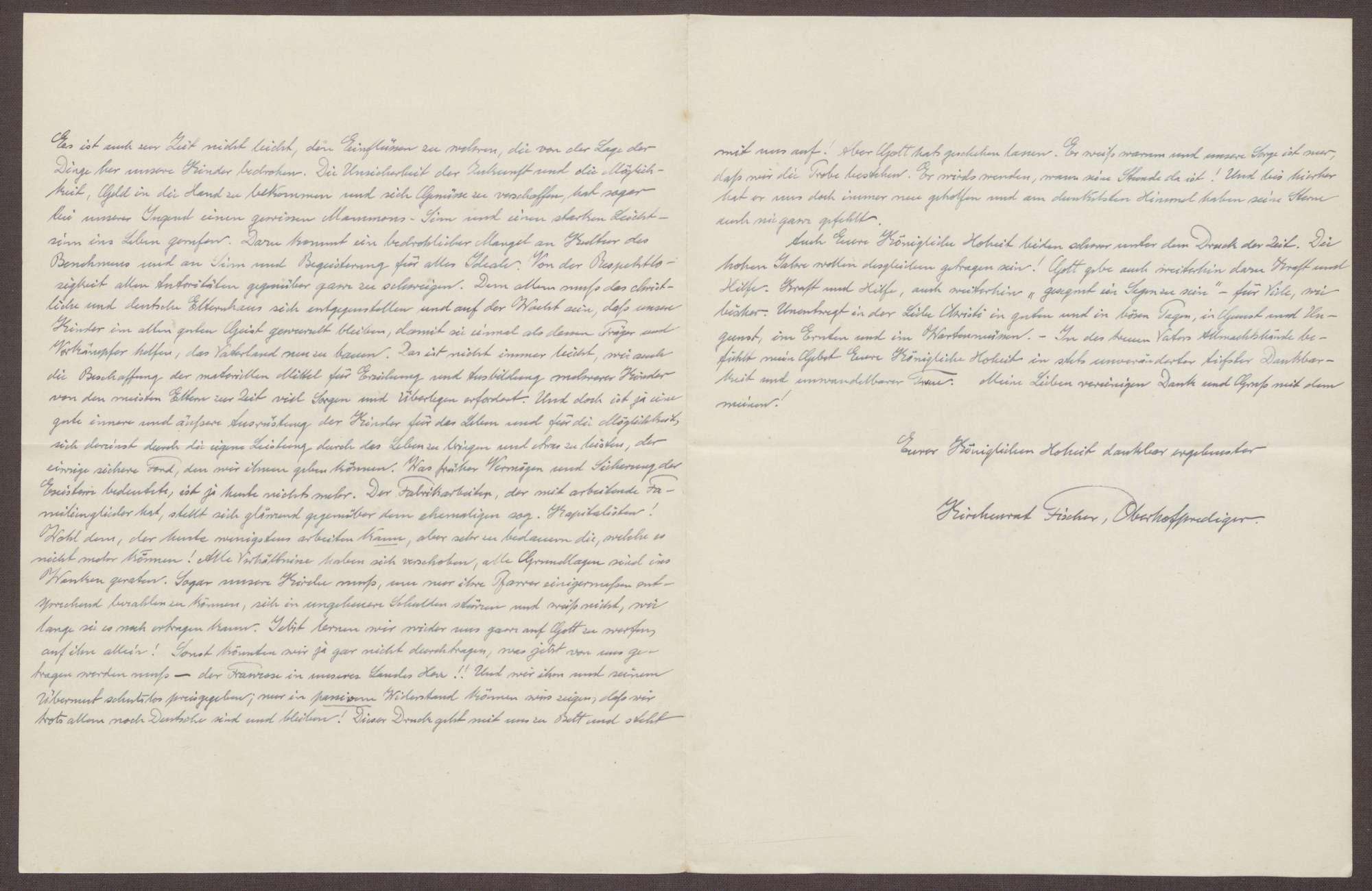 Schreiben von Ernst Fischer an die Großherzogin Luise; Bericht über die Kinder von Ernst Fischer und Reflexionen über den gesellschaftlichen Wandel, Bild 2