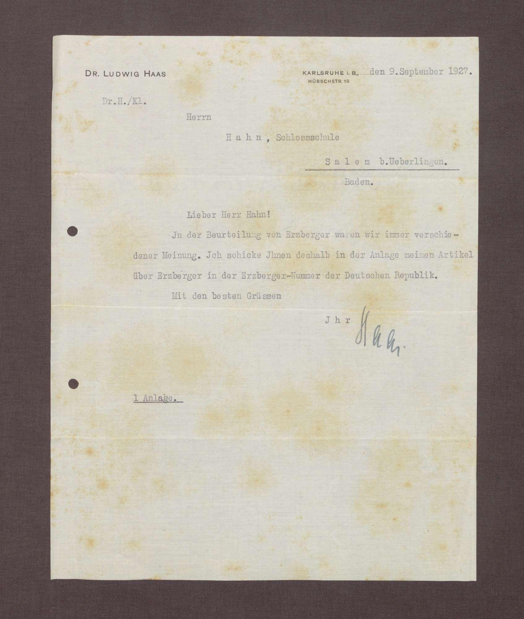 Schreiben von Ludwig Haas an Kurt Hahn über einen Artikel zur Beurteilung von Matthias Erzberger von Ludwig Haas, Bild 1