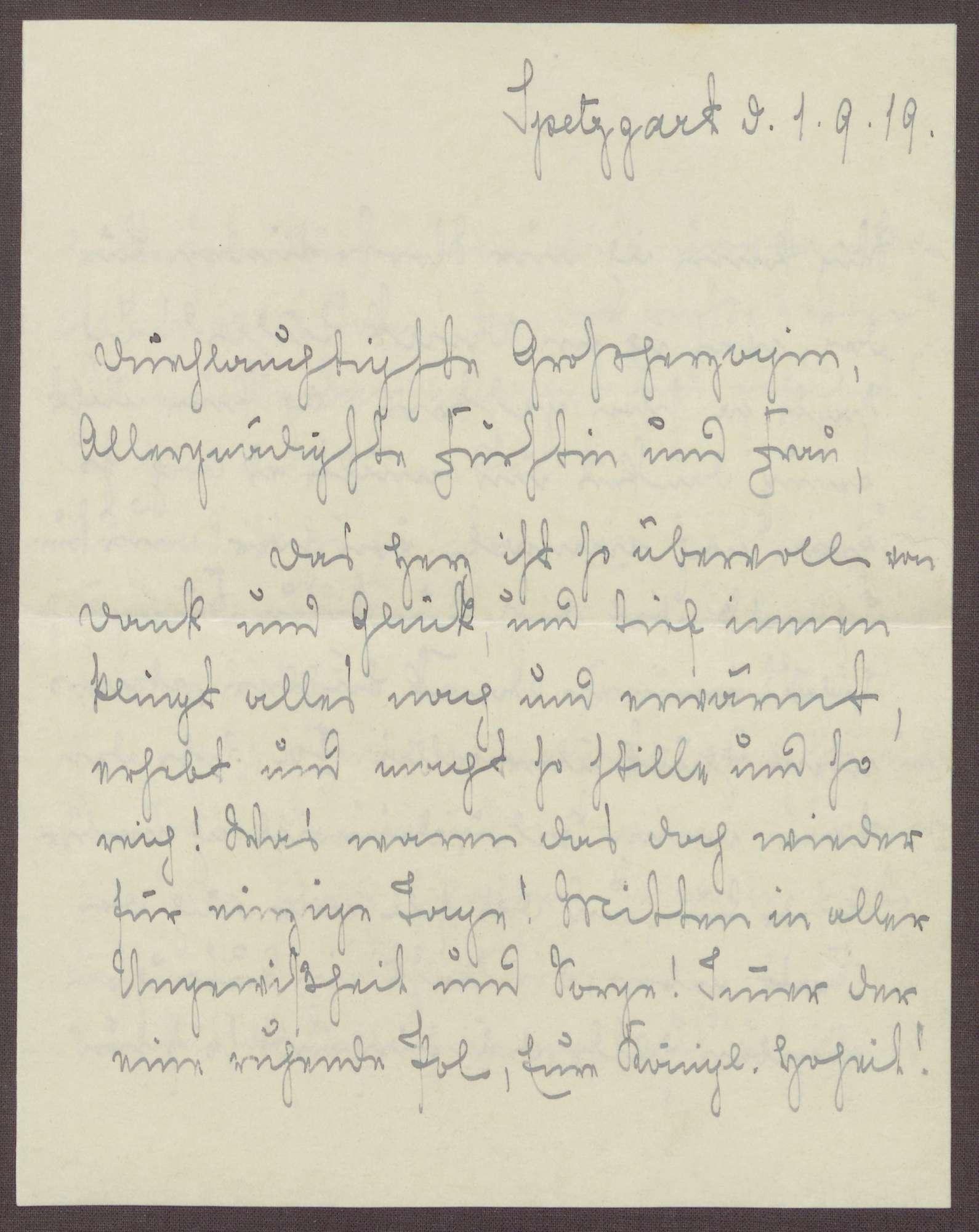 Schreiben von Emilie Göler von Ravensburg an Großherzogin Luise; Dank und Erinnerung an die Tage auf der Insel Mainau, Bild 1