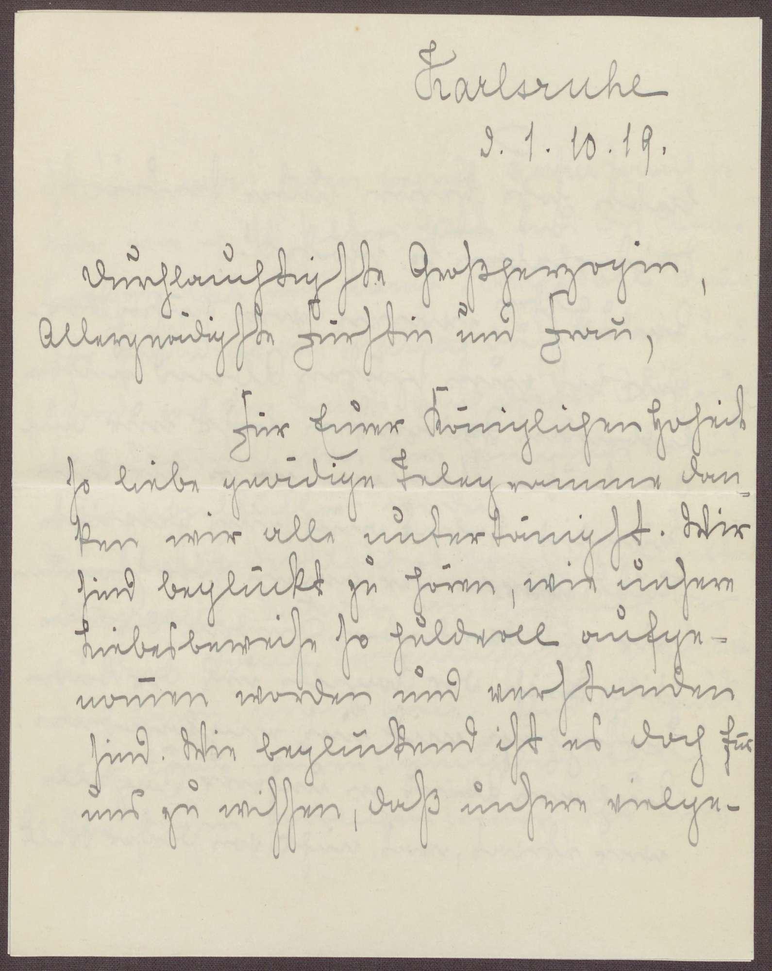 Schreiben von Emilie Göler von Ravensburg an Großherzogin Luise; Erinnerungen an Treffen mit der Großherzogin auf der Insel Mainau, Bild 1