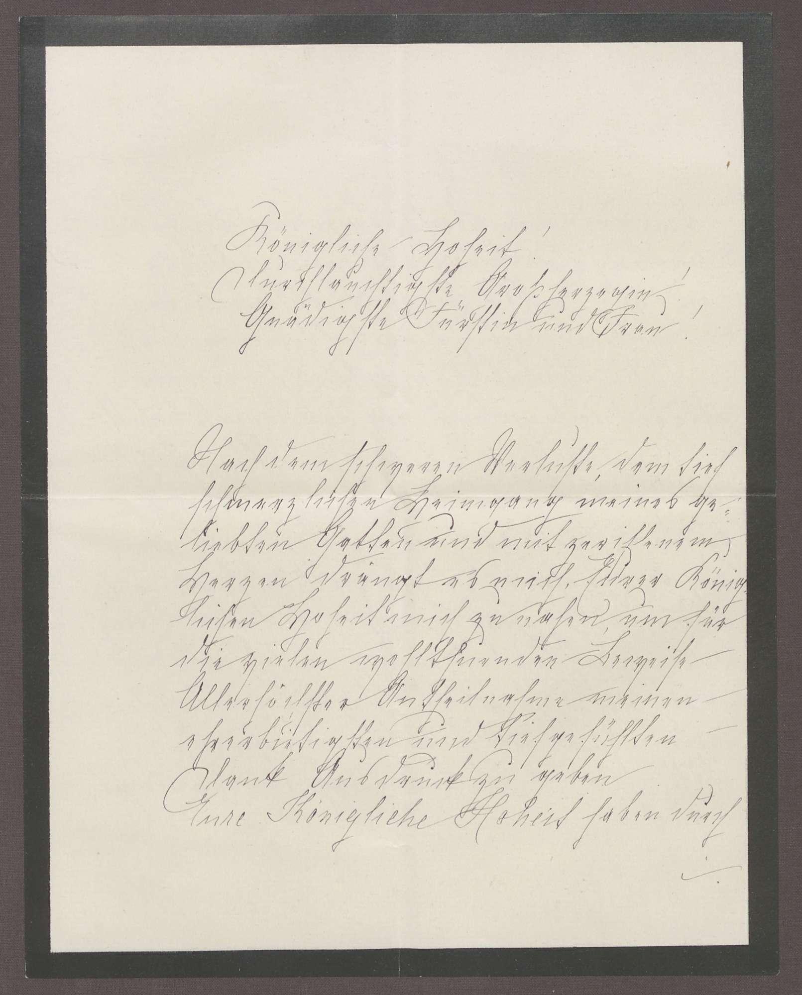 Schreiben von Anna Haas an die Großherzogin Luise; Tod des Ehemannes von Anna Haas und Dank für Anteilnahme durch die Großherzogin, Bild 1