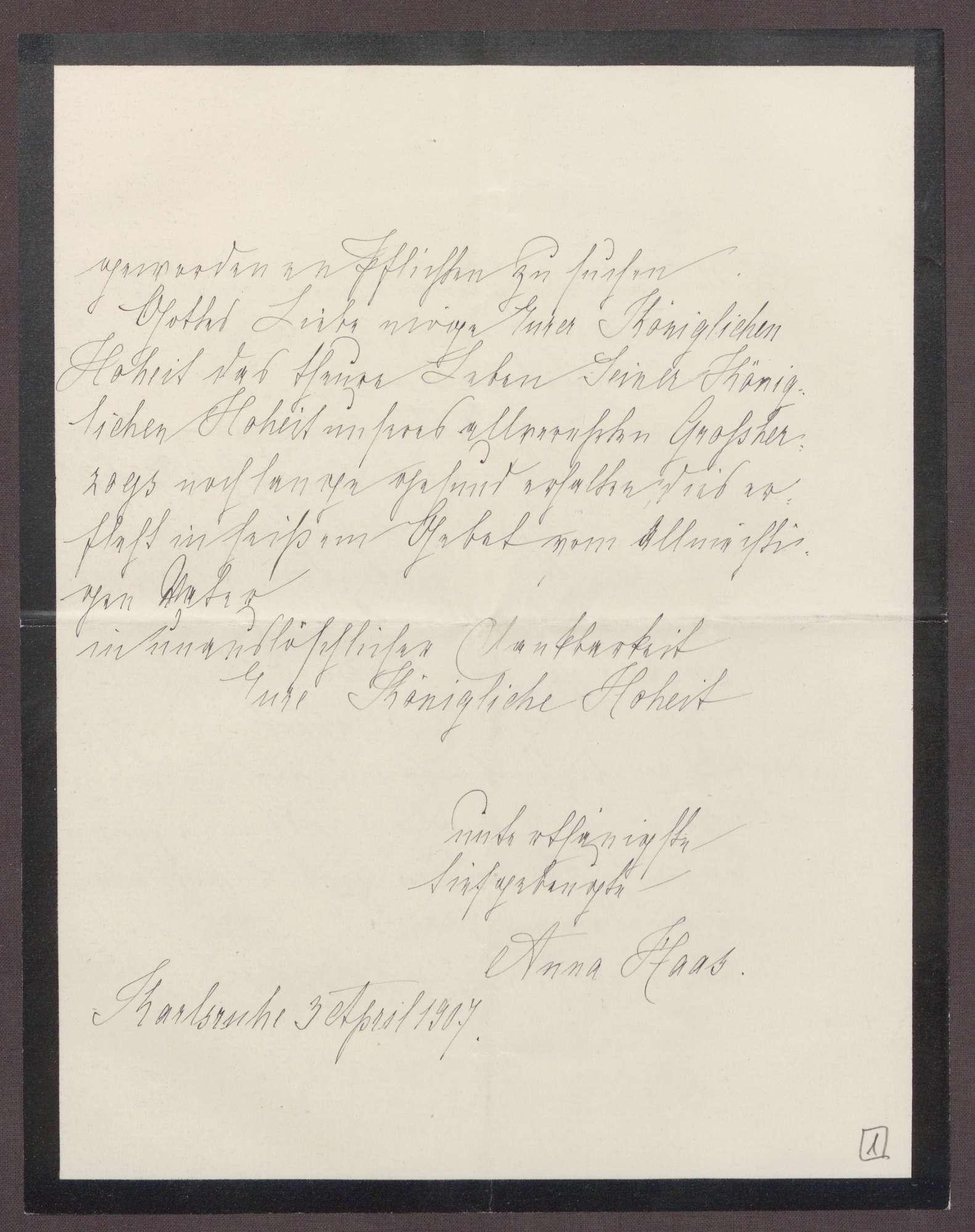 Schreiben von Anna Haas an die Großherzogin Luise; Tod des Ehemannes von Anna Haas und Dank für Anteilnahme durch die Großherzogin, Bild 3