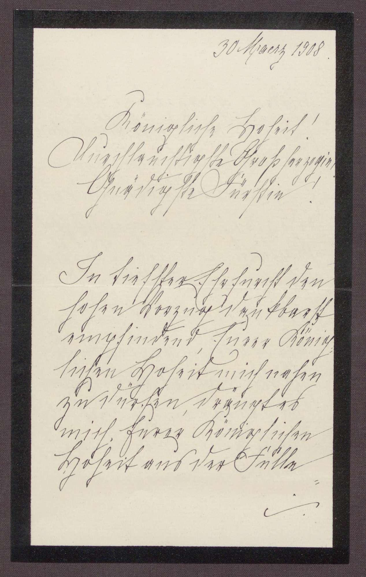Schreiben von Anna Haas an die Großherzogin Luise; Dank an die Großherzogin für die Ehre, sie auf einer Reise begleiten zu dürfen, Bild 1